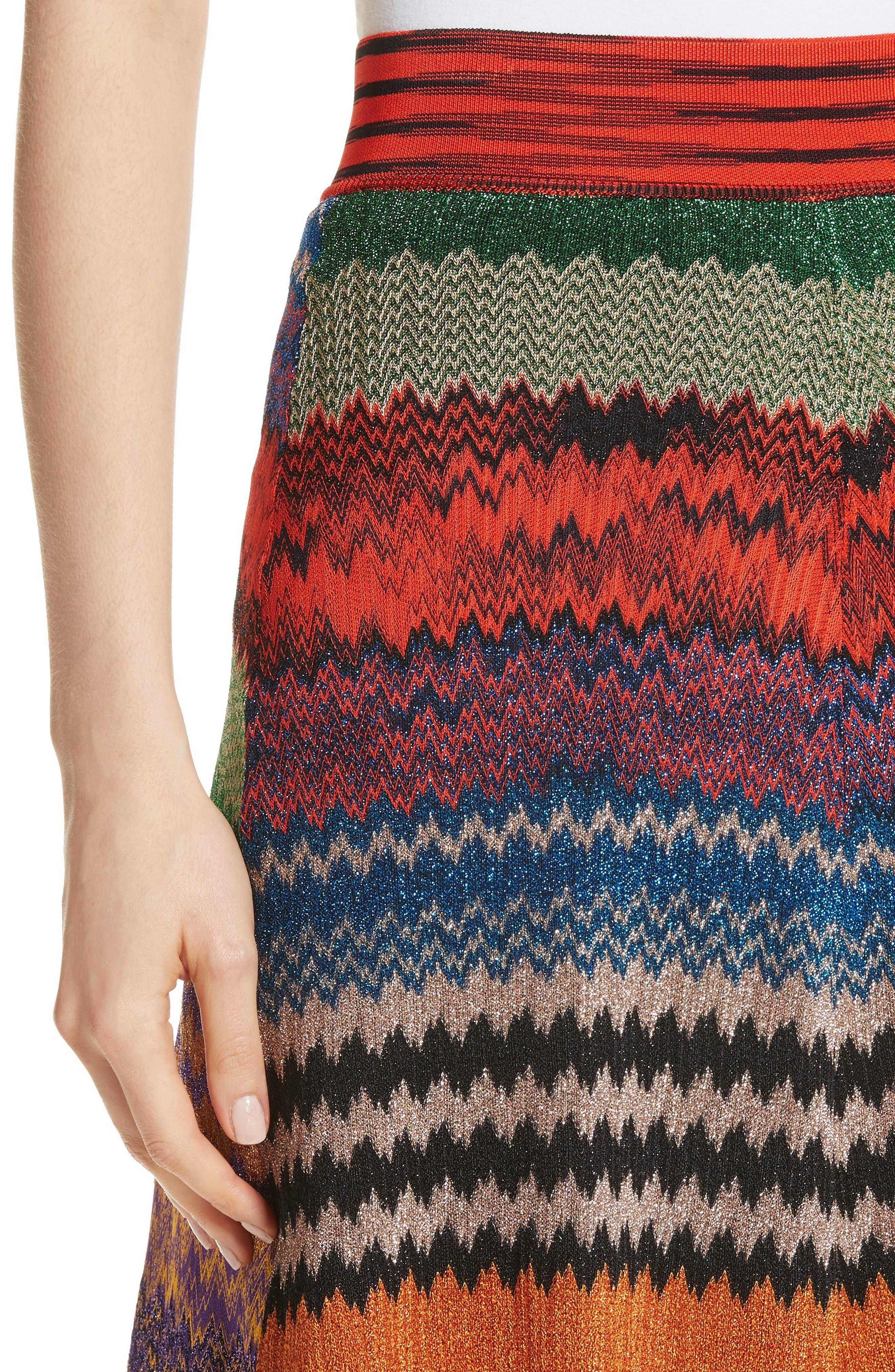 Metallic Stripe Knit Midi Skirt,                             Alternate thumbnail 4, color,