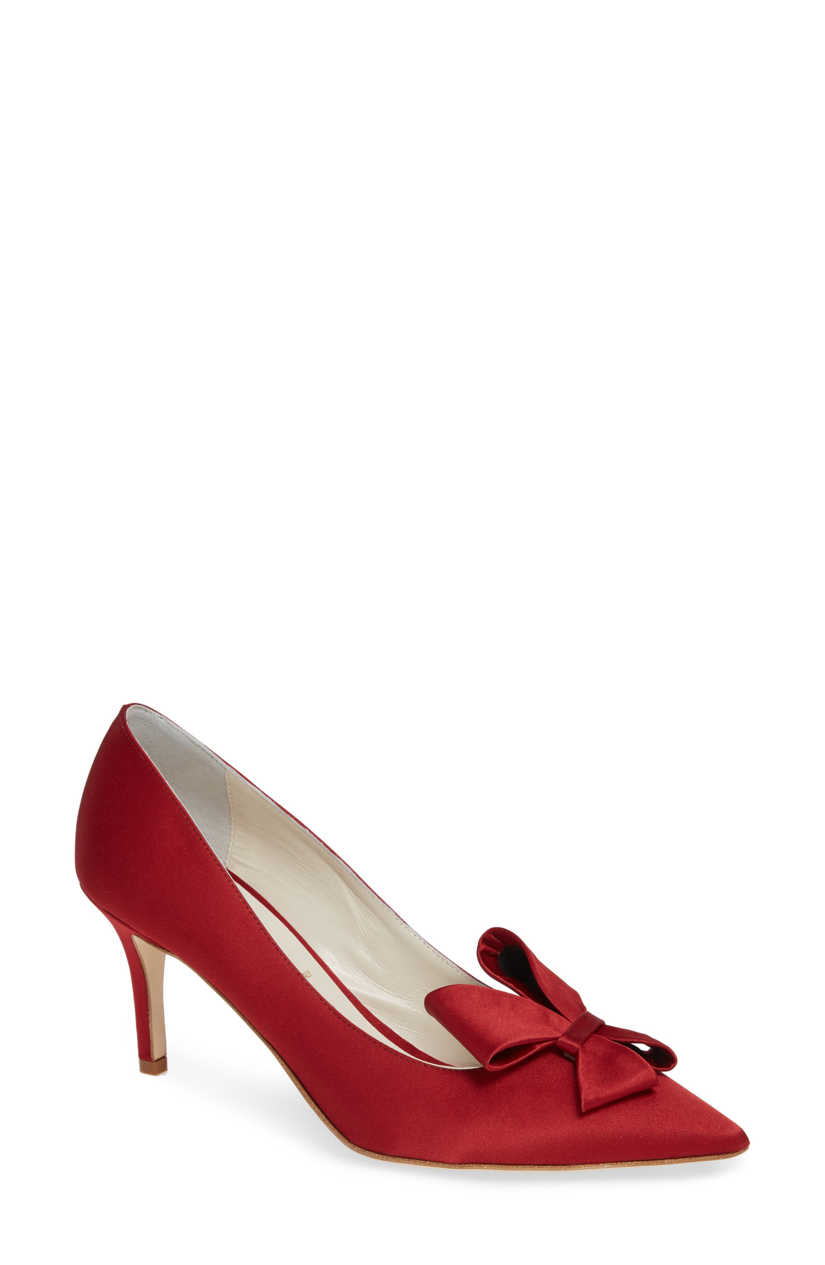 SOMETHING BLEU,                             Caitlin Bow Pointy Toe Pump,                             Main thumbnail 1, color,                             LIPSTICK MOIRE