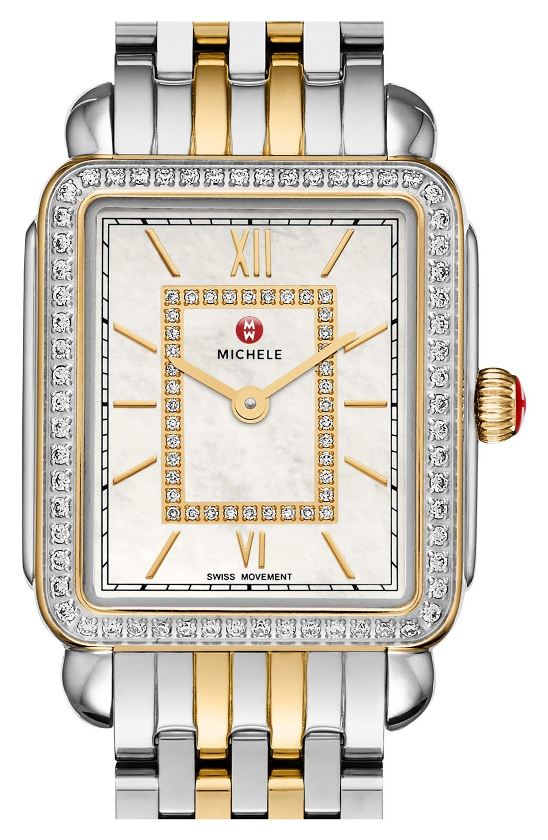 Deco II Mid Diamond Dial Watch Case, 26mm x 28mm,                             Alternate thumbnail 6, color,                             SILVER/ GOLD