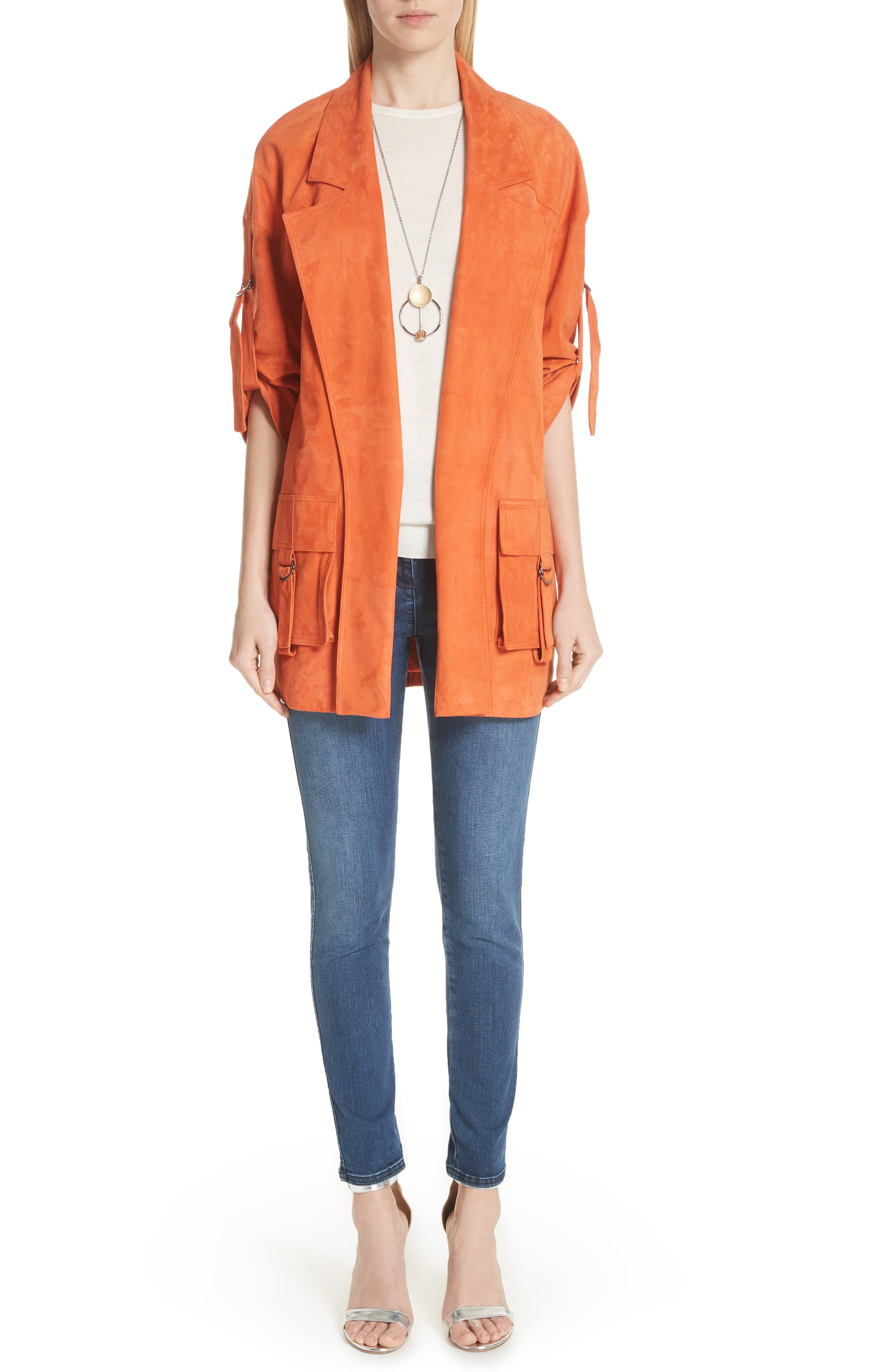 Suede Slouch Jacket,                             Alternate thumbnail 8, color,                             SOFT SIENNA