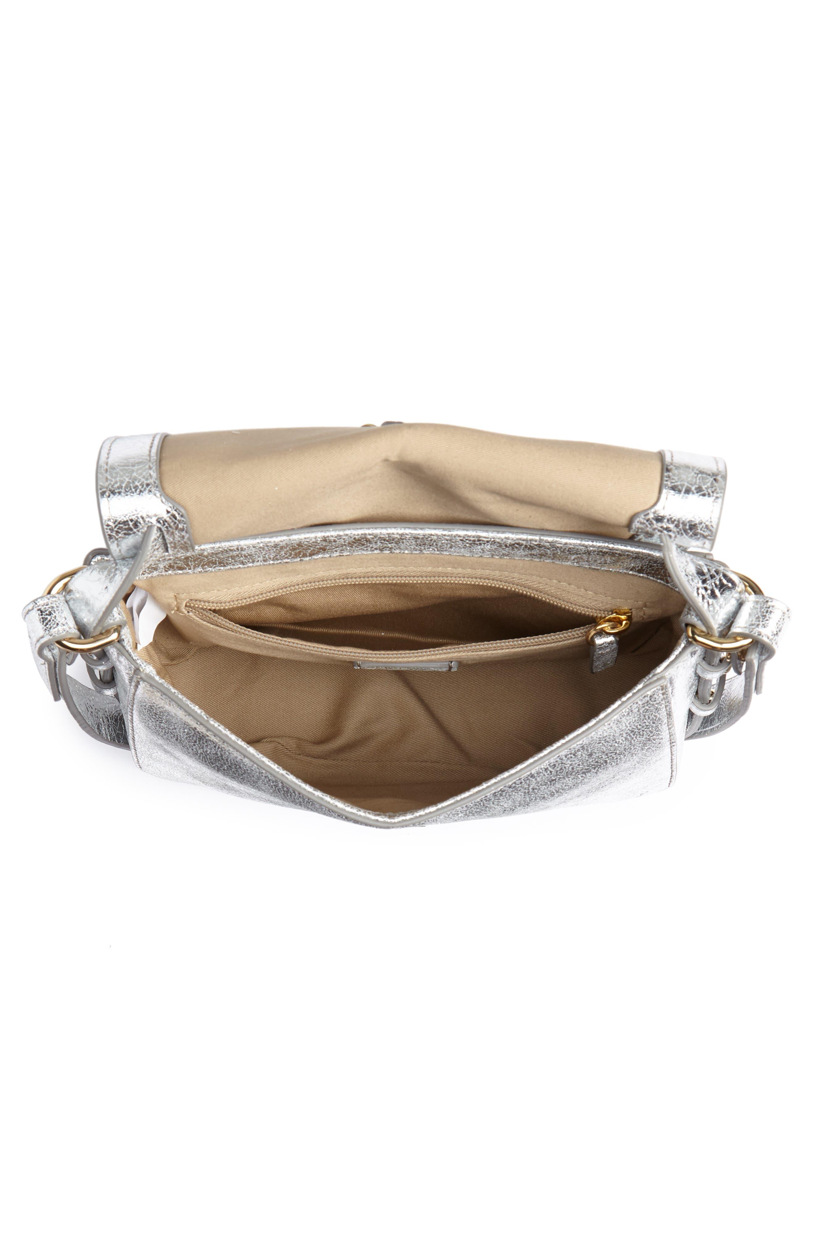 Harper Metallic Leather Crossbody Bag,                             Alternate thumbnail 4, color,                             METALLIC SILVER