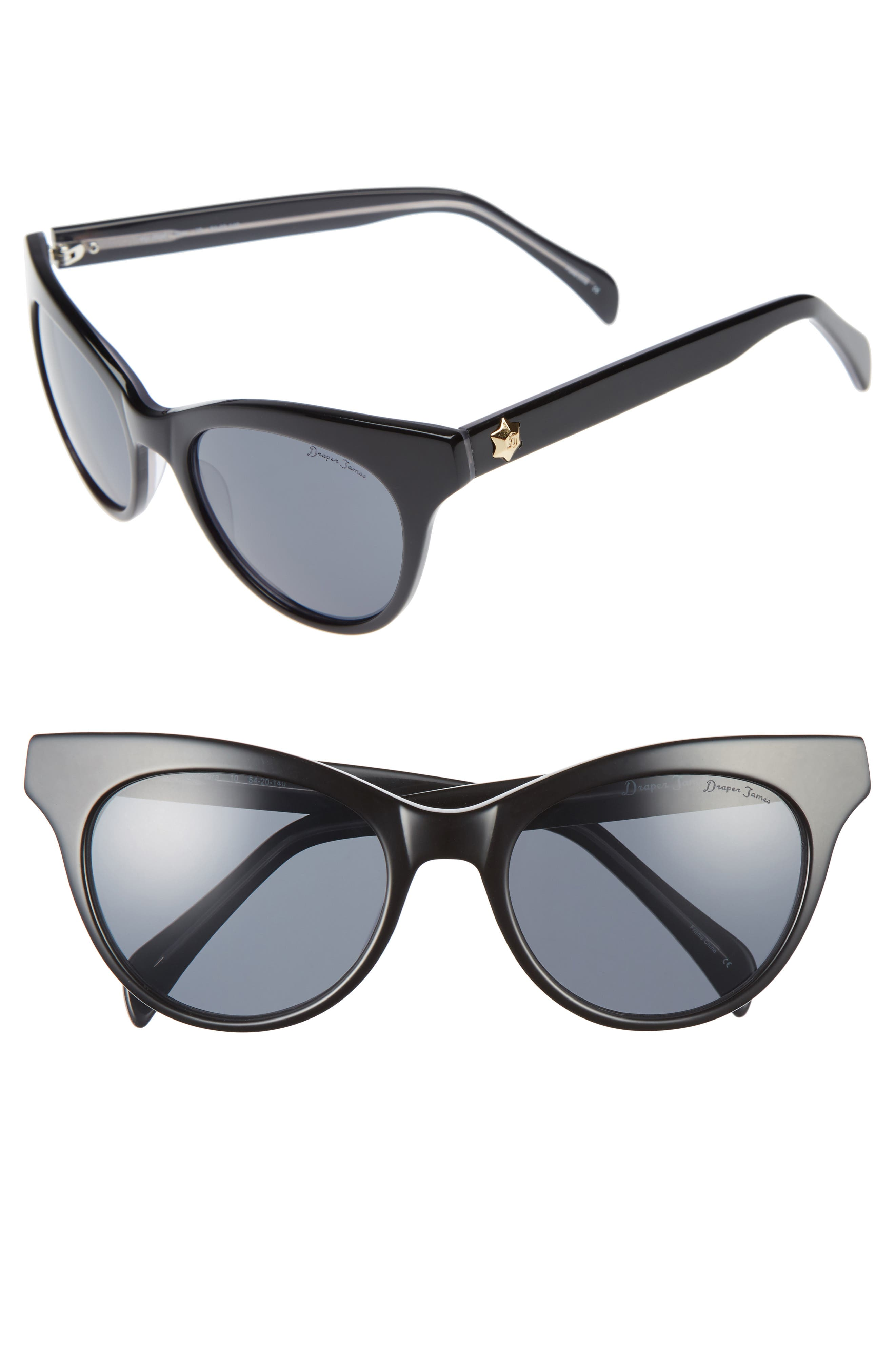 54mm Gradient Lens Cat Eye Sunglasses,                             Main thumbnail 1, color,                             001