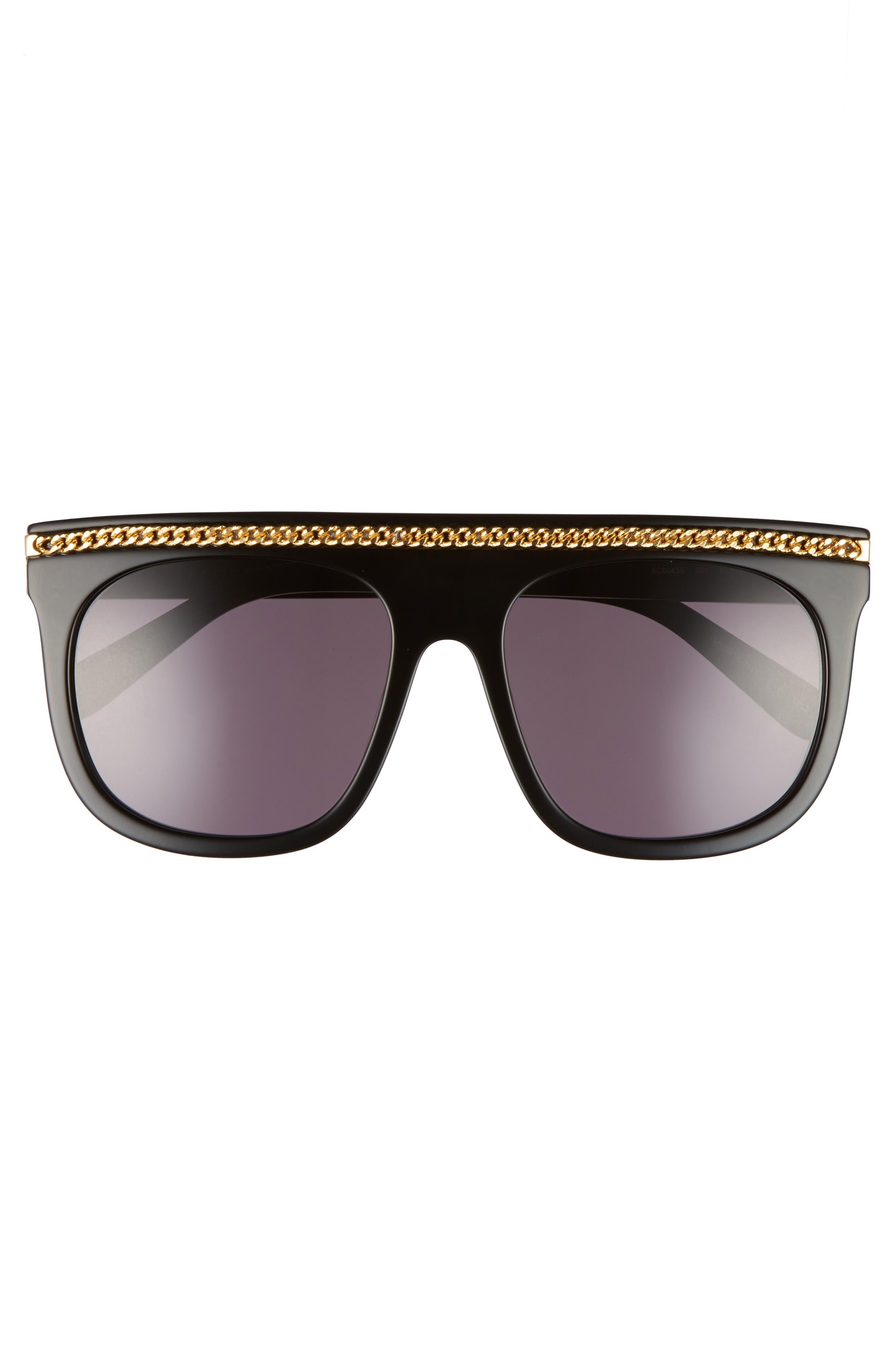 55mm Flat Top Sunglasses,                             Alternate thumbnail 3, color,                             001