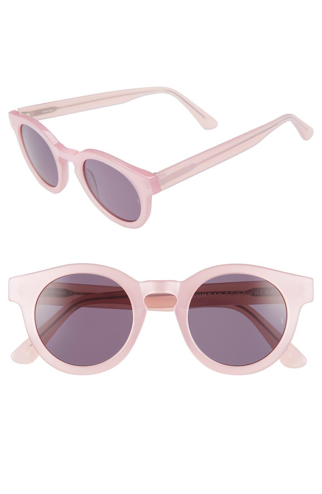 'Soelae' 46mm Round Sunglasses,                         Main,                         color, 650