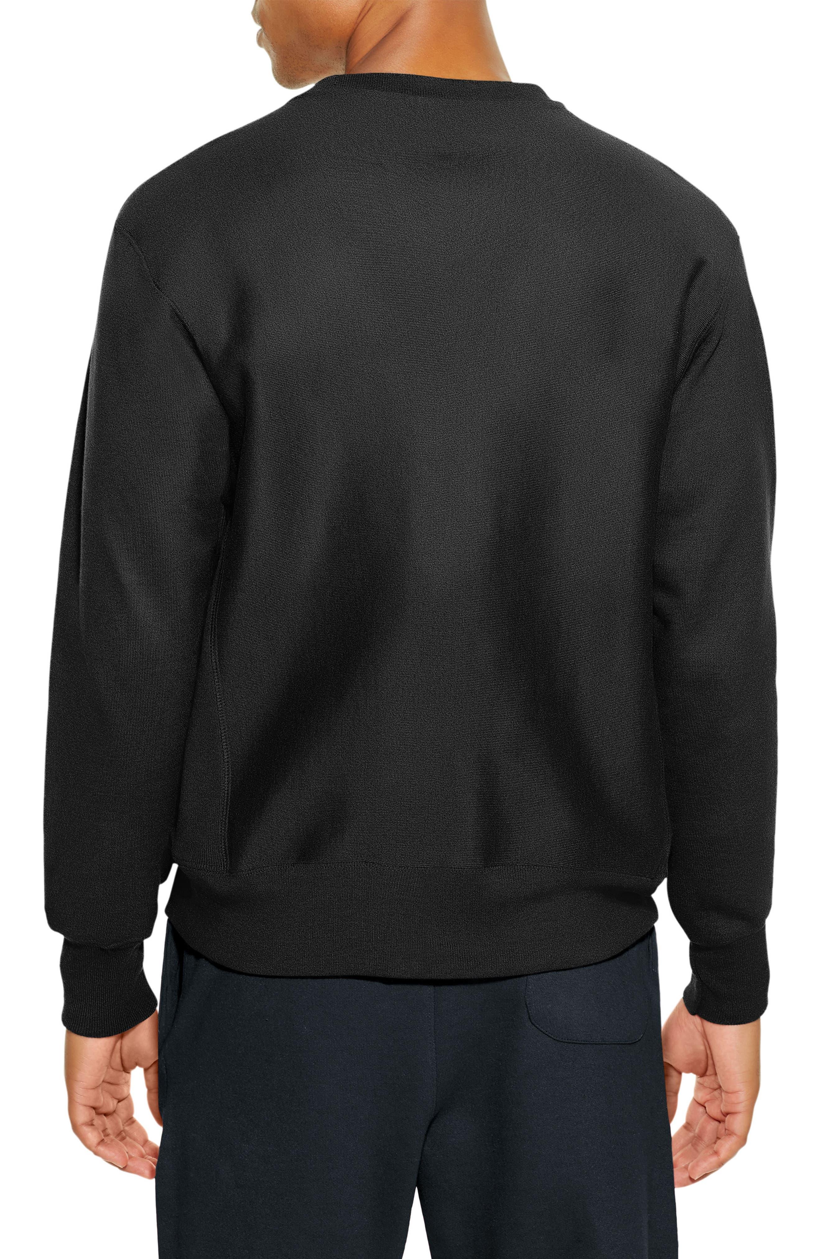 Reverse Weave Crewneck Cotton Blend Sweatshirt,                             Alternate thumbnail 2, color,                             001
