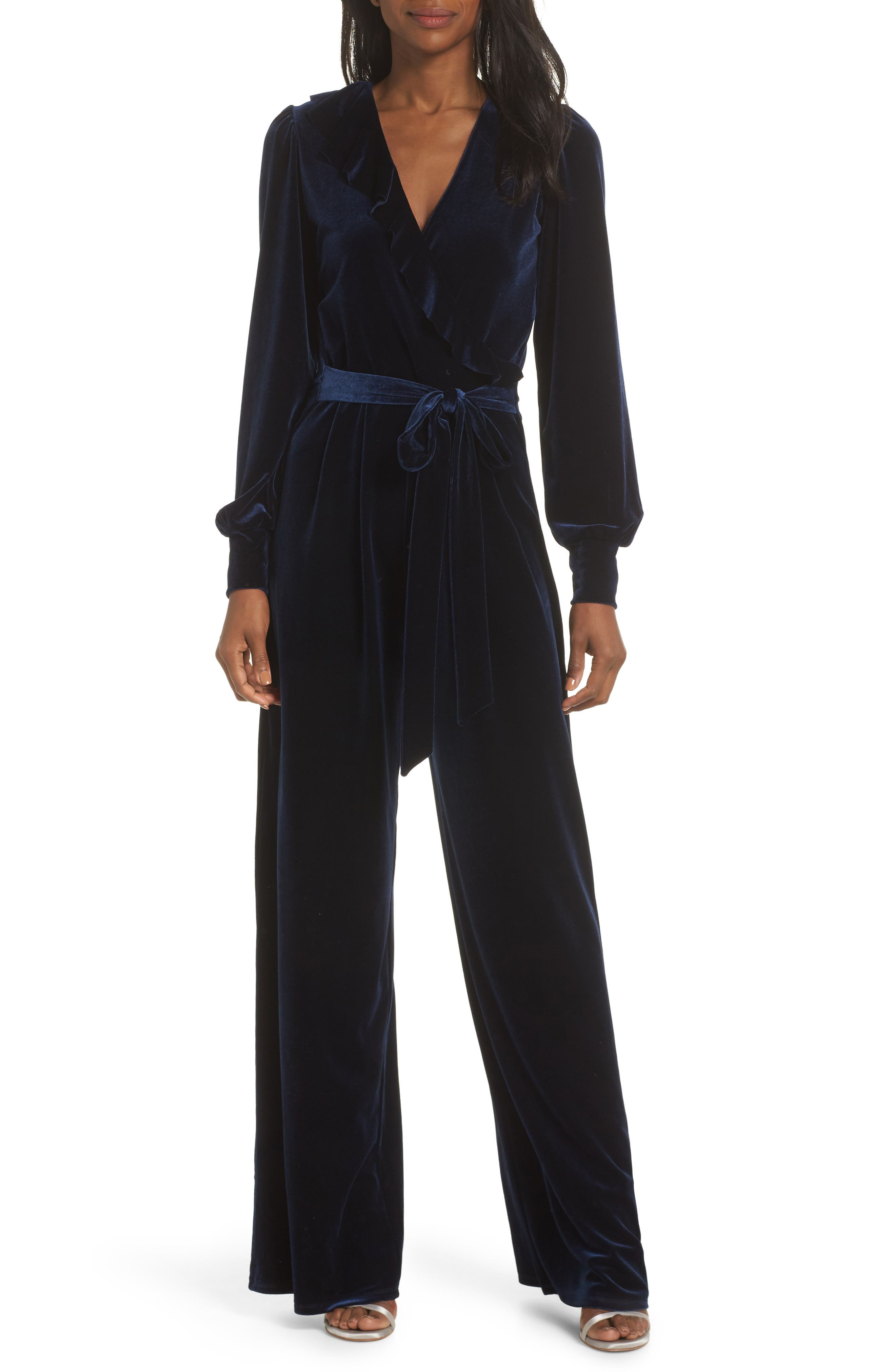 Julie Print Ruffle Jumpsuit,                         Main,                         color, MIDNIGHT VELVET-NAVY