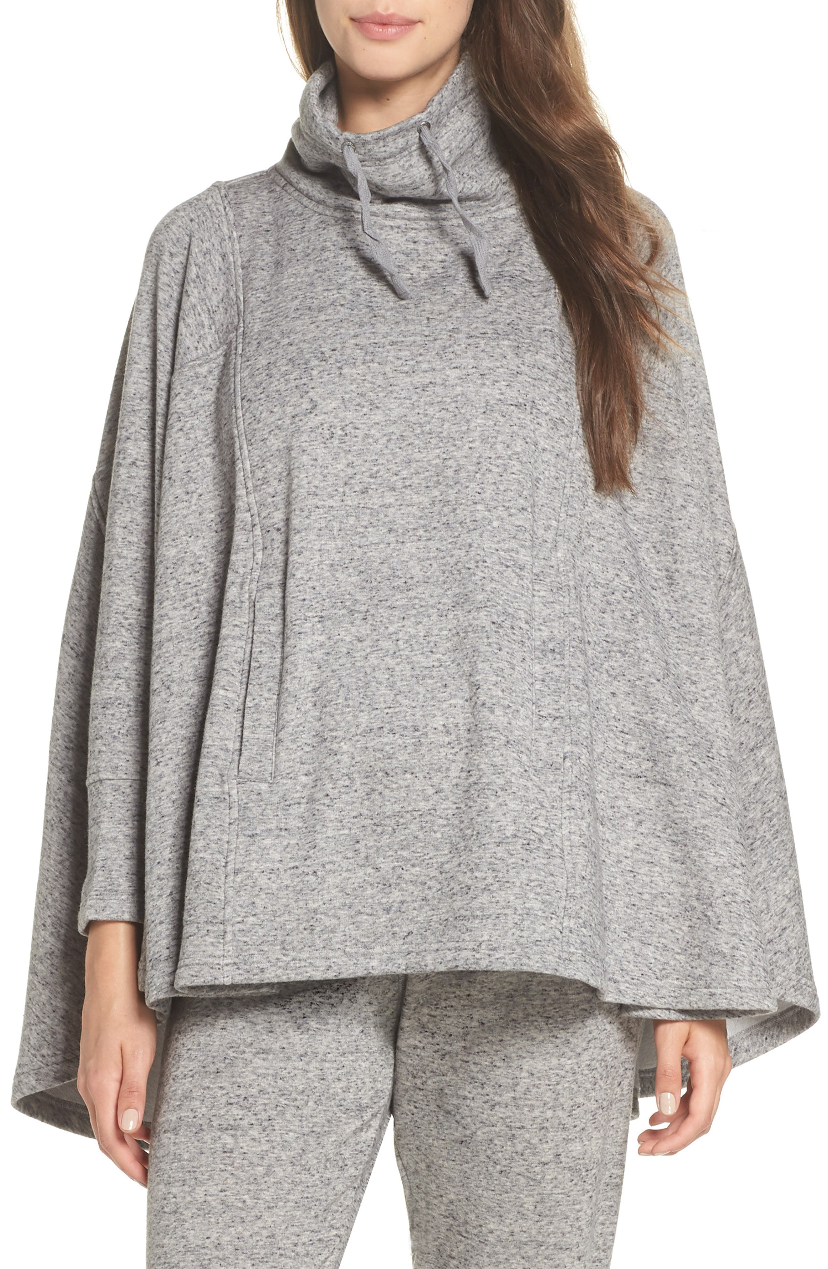 Pichot Turtleneck Poncho,                             Main thumbnail 1, color,                             GREY HEATHER