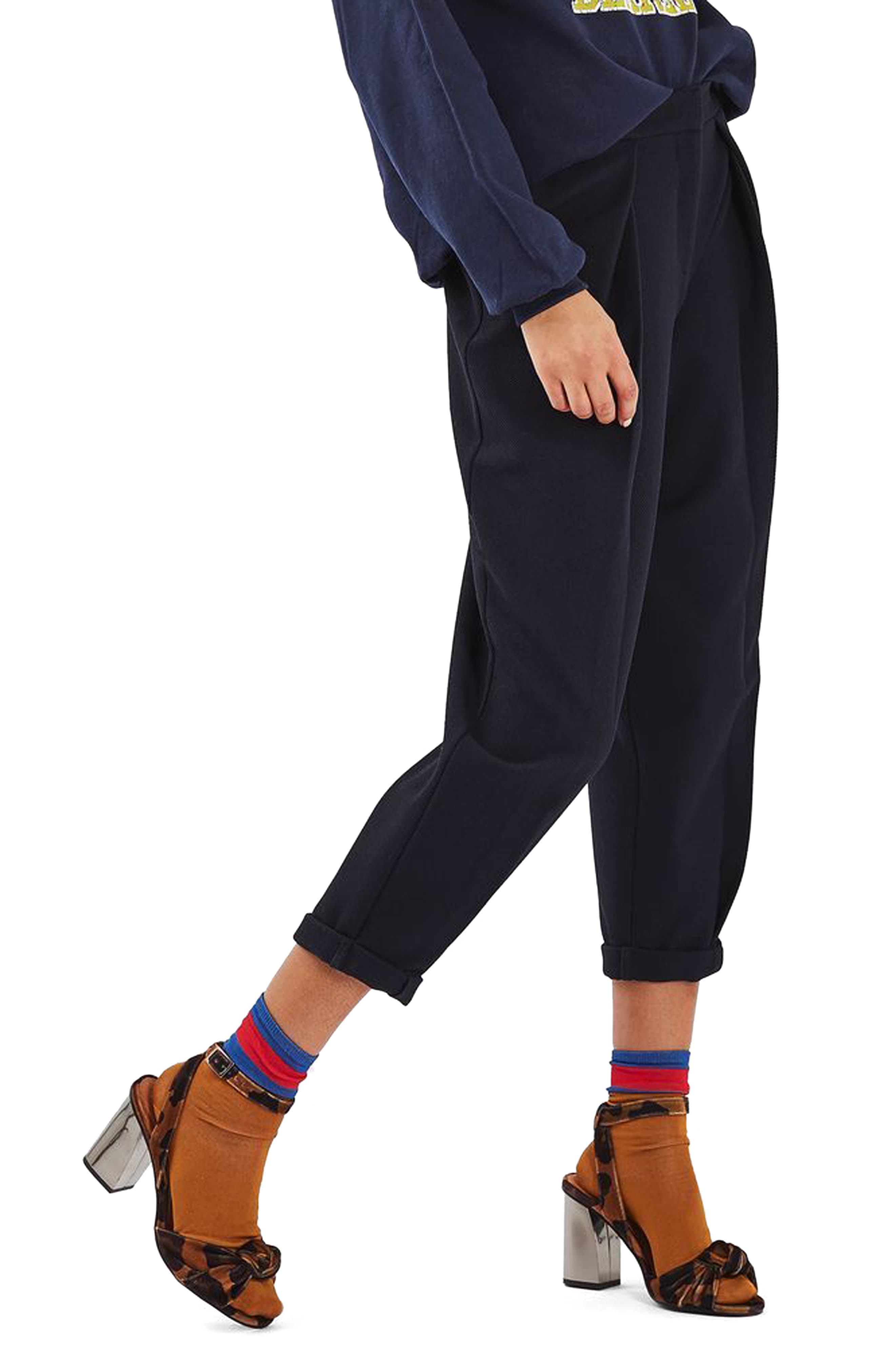 TOPSHOP,                             Mensy Crop Trousers,                             Main thumbnail 1, color,                             410