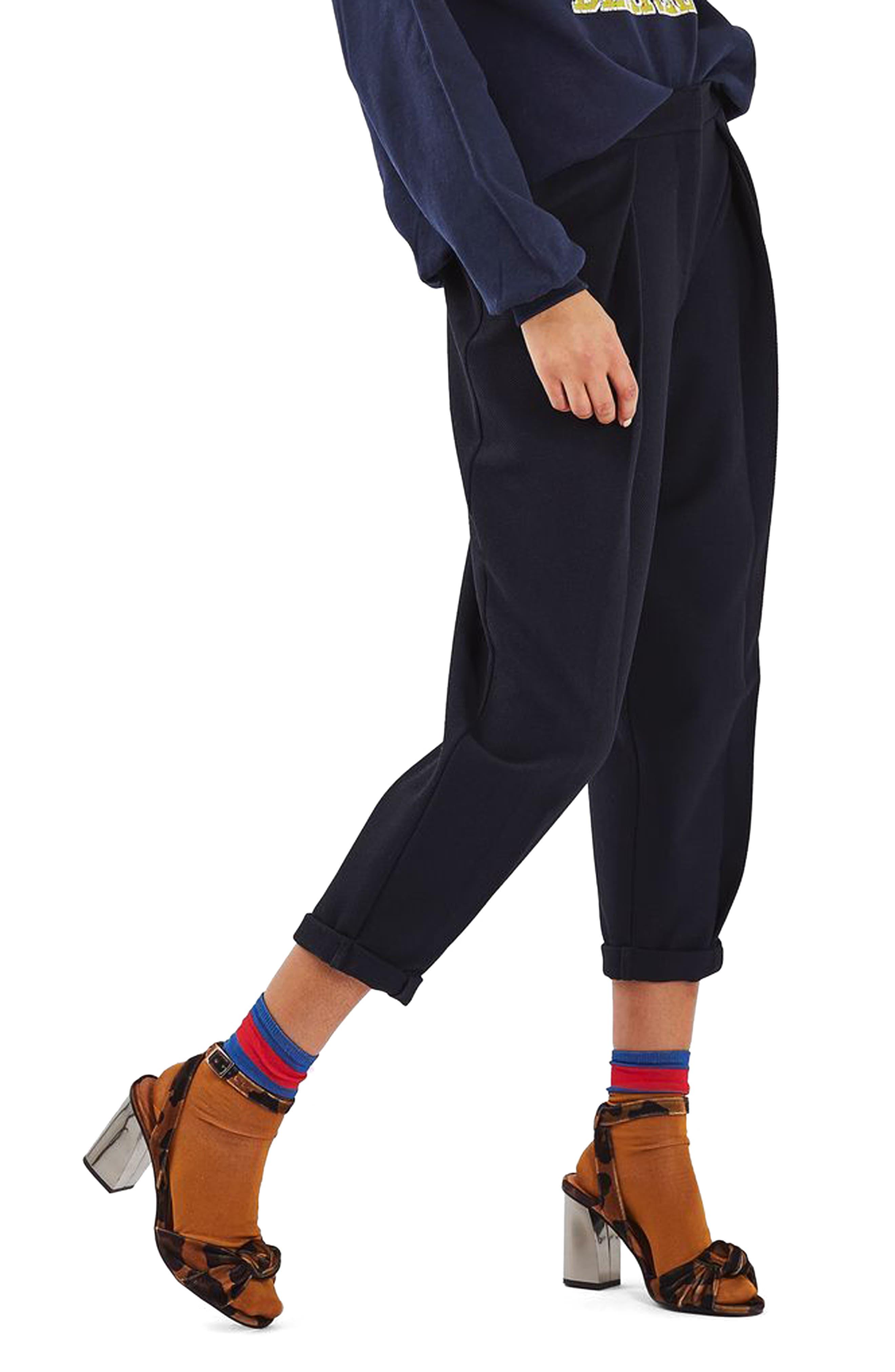 TOPSHOP Mensy Crop Trousers, Main, color, 410
