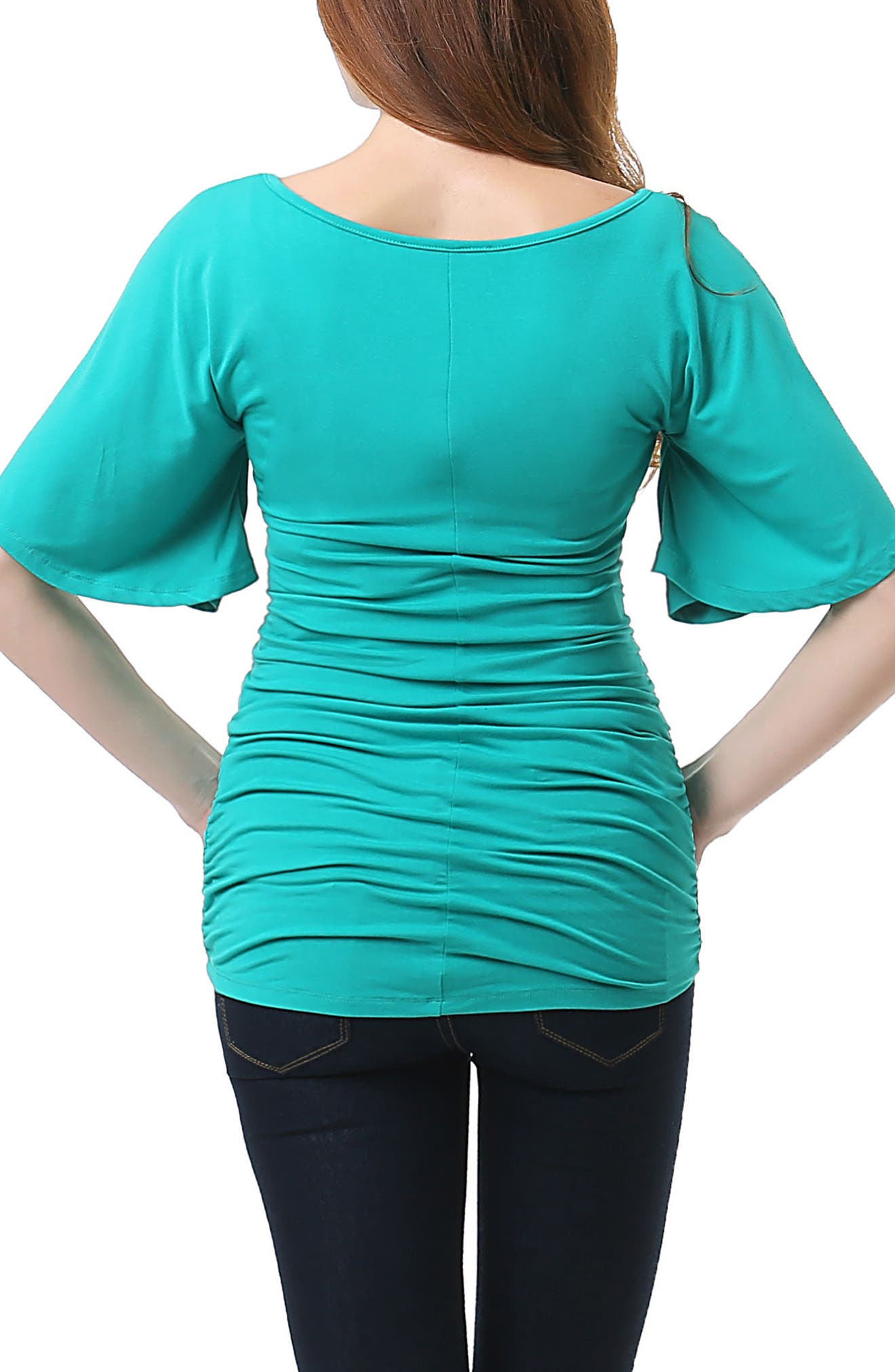 Myah Ruched Maternity Top,                             Alternate thumbnail 2, color,                             EMERALD