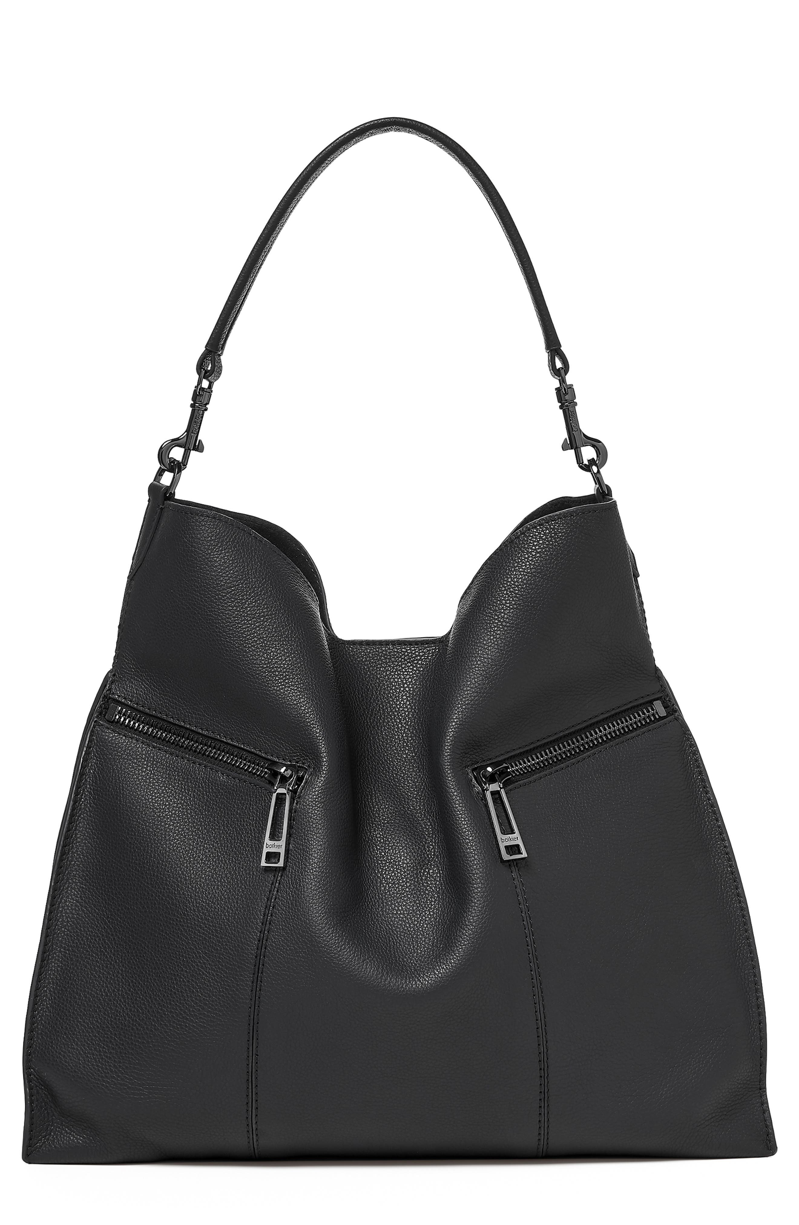Trigger Pebbled Leather Hobo,                         Main,                         color, BLACK