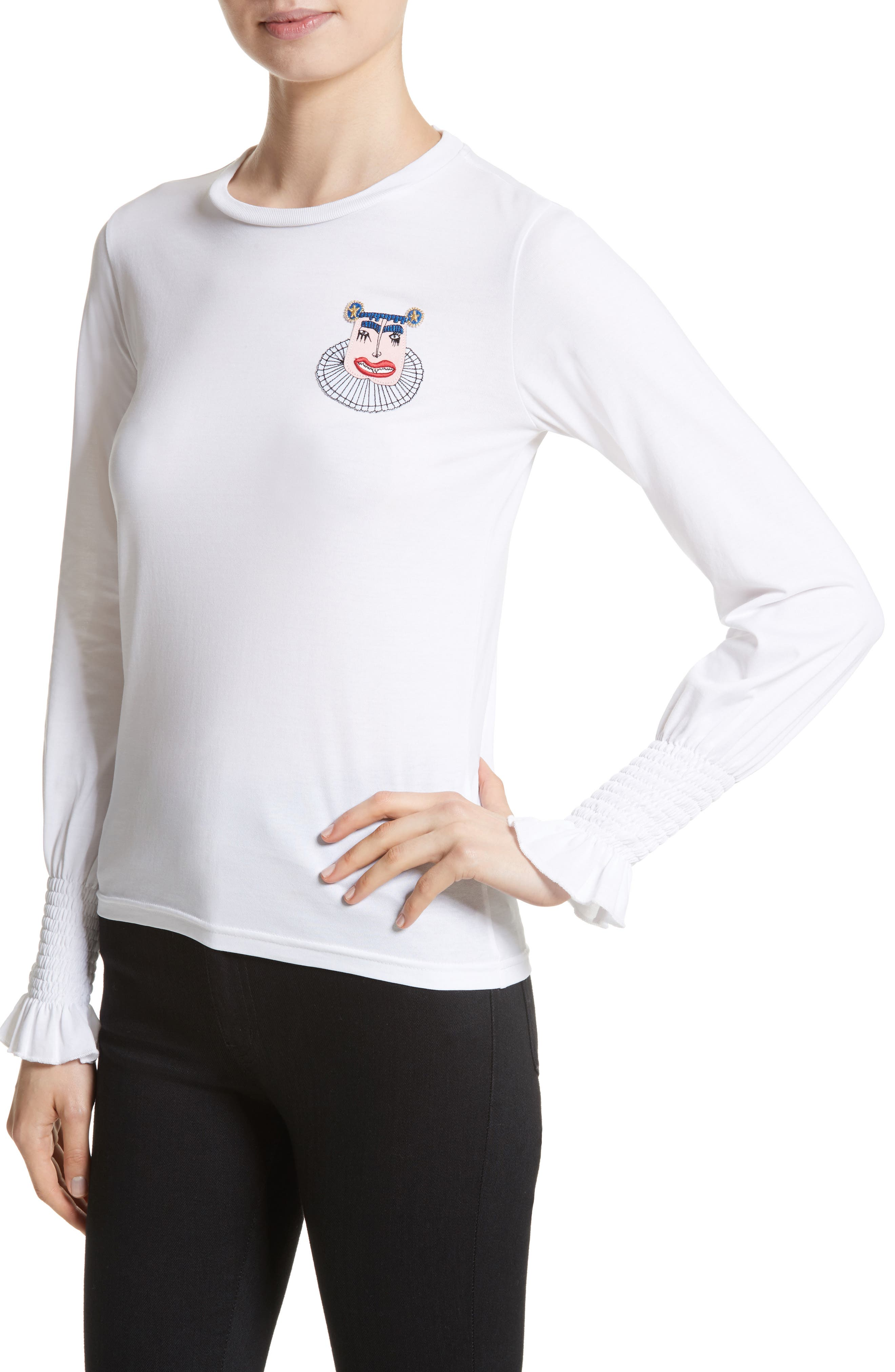 Maxwell Flare Cuff Jersey Top,                             Alternate thumbnail 4, color,                             100