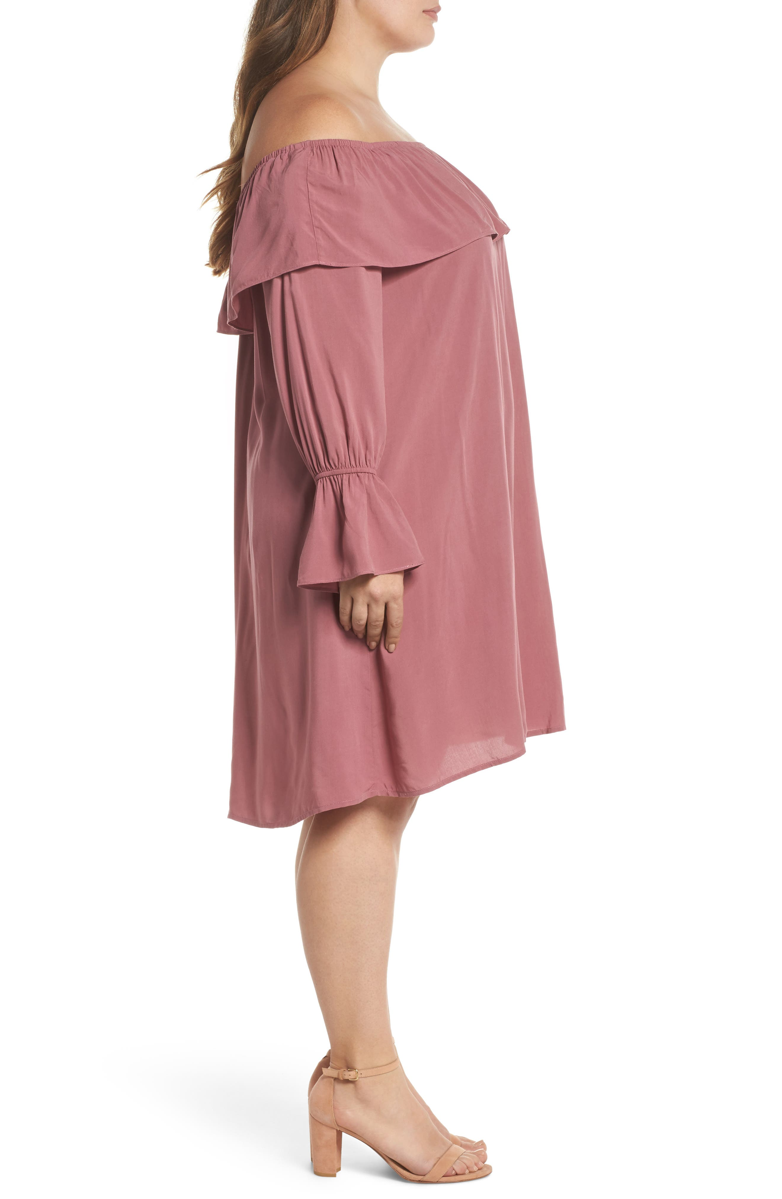 Ruffle Off-the-Shoulder Shift Dress,                             Alternate thumbnail 3, color,                             651