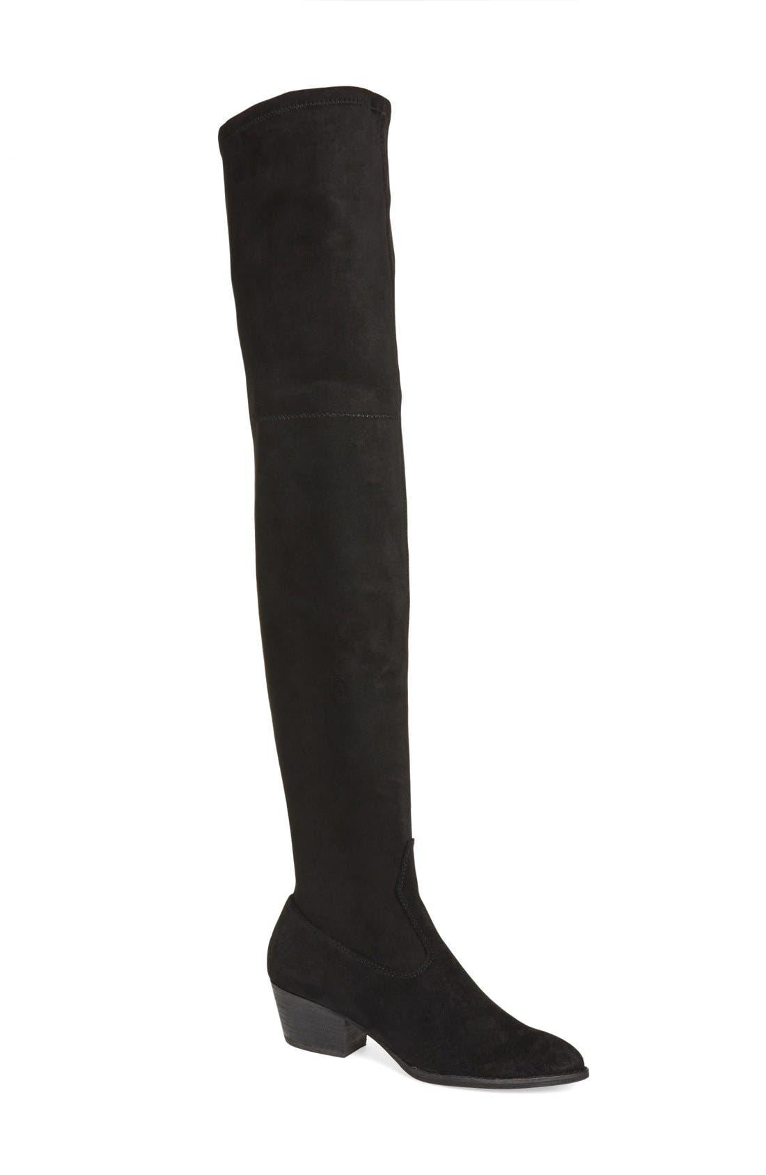 'Sparrow' Thigh High Almond Toe Boot,                             Main thumbnail 1, color,                             001
