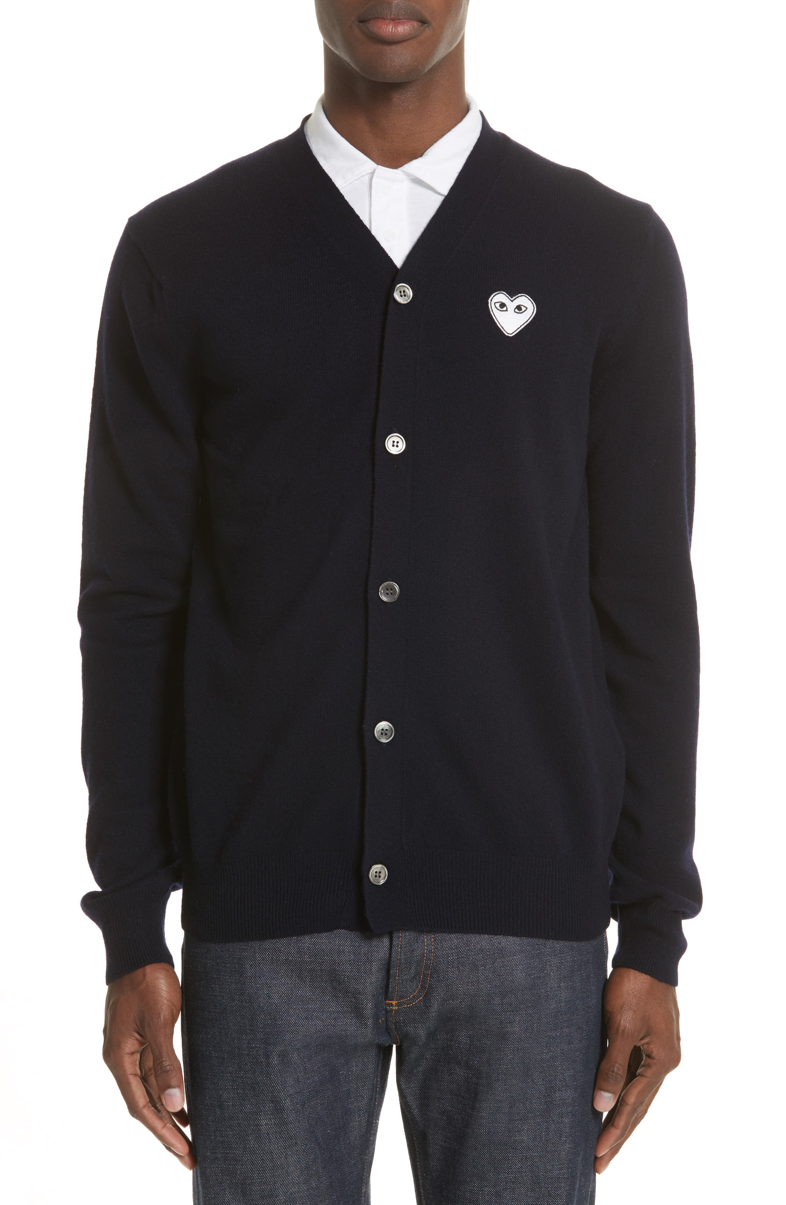 Comme Des Garcons Play White Heart Wool Cardigan, Blue