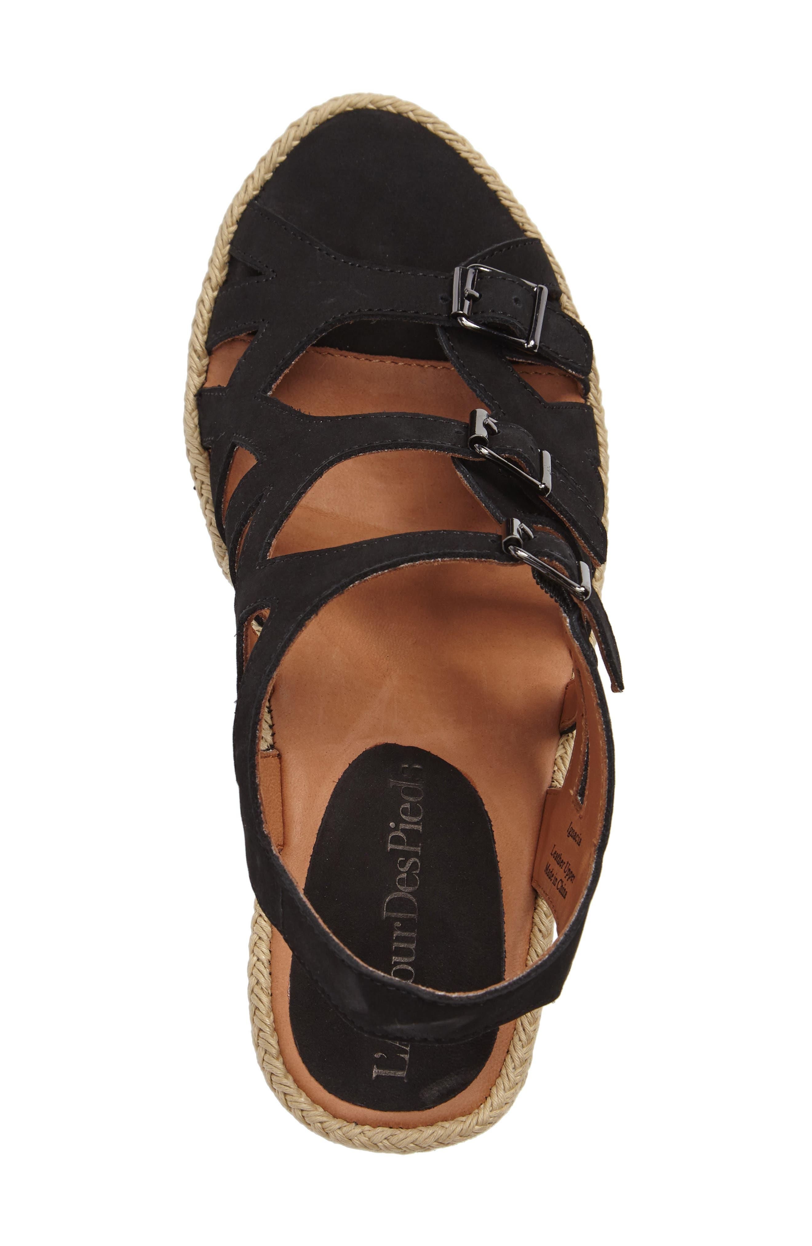 Ignacia Wedge Sandal,                             Alternate thumbnail 3, color,                             BLACK NUBUCK