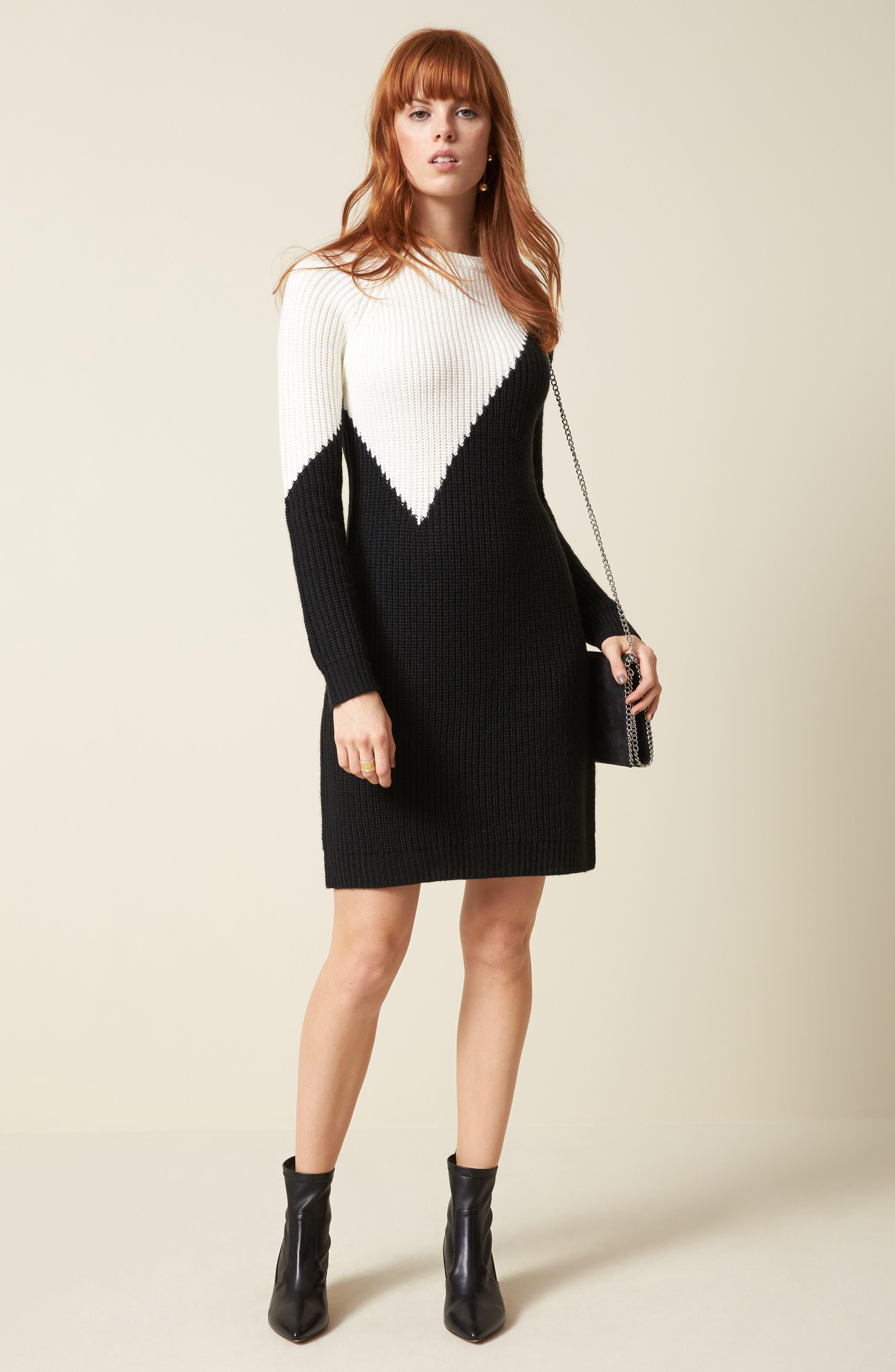 Colorblock Sweater Dress,                             Alternate thumbnail 7, color,                             010