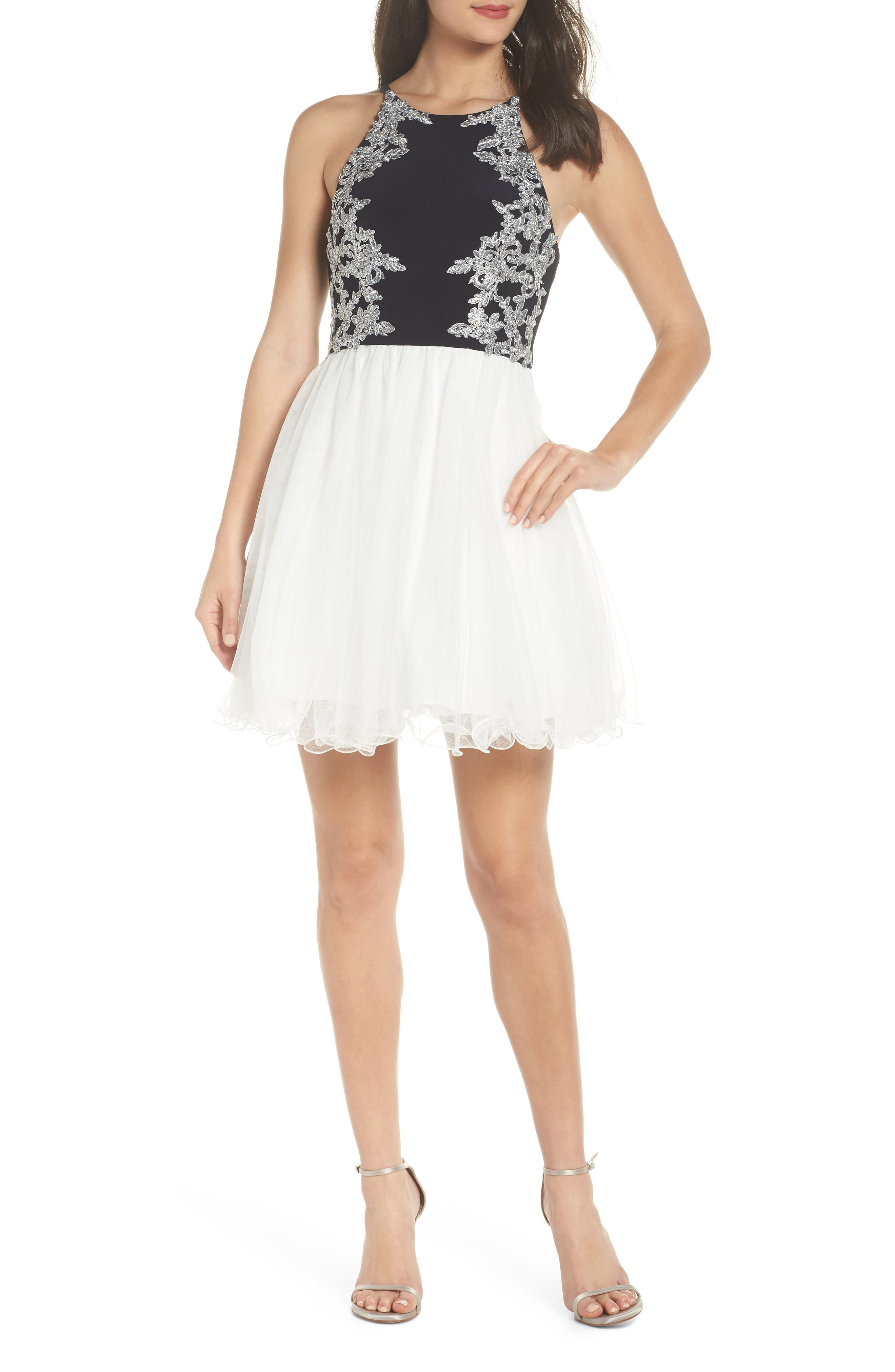 Appliqué Mesh Fit & Flare Dress,                             Main thumbnail 1, color,                             NAVY/ IVORY/ SILVER