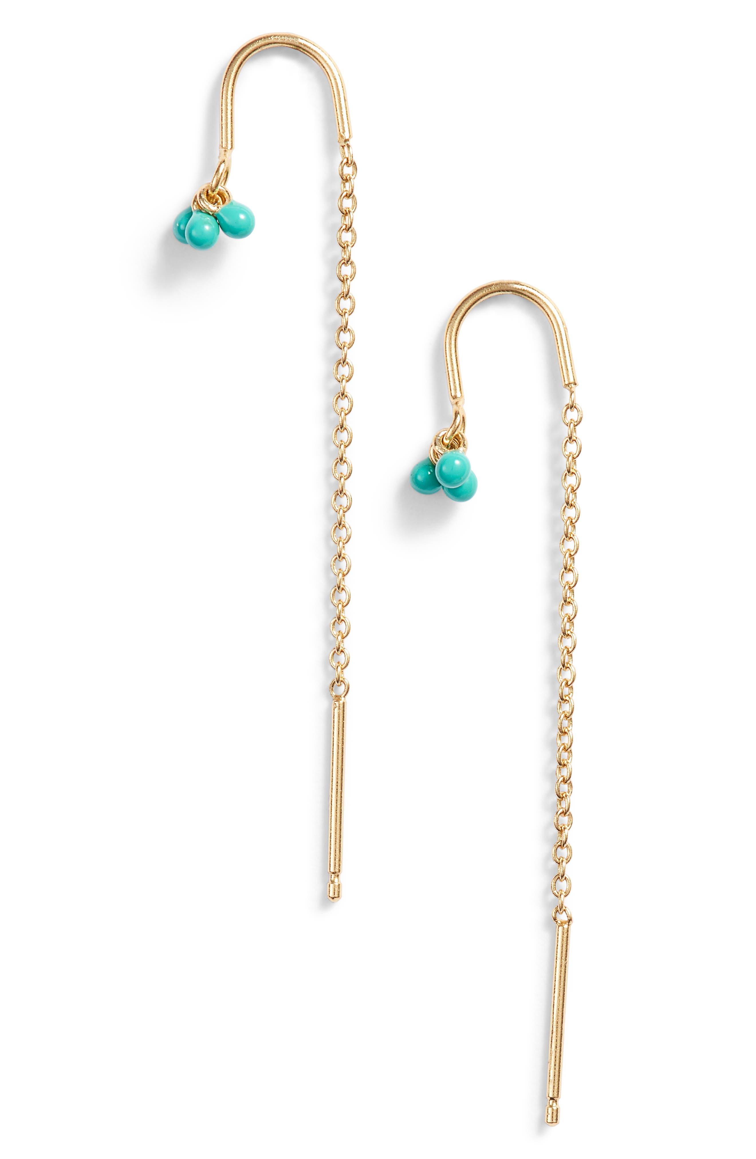 Enamel Cluster Threader Earrings,                         Main,                         color, TURQUOISE
