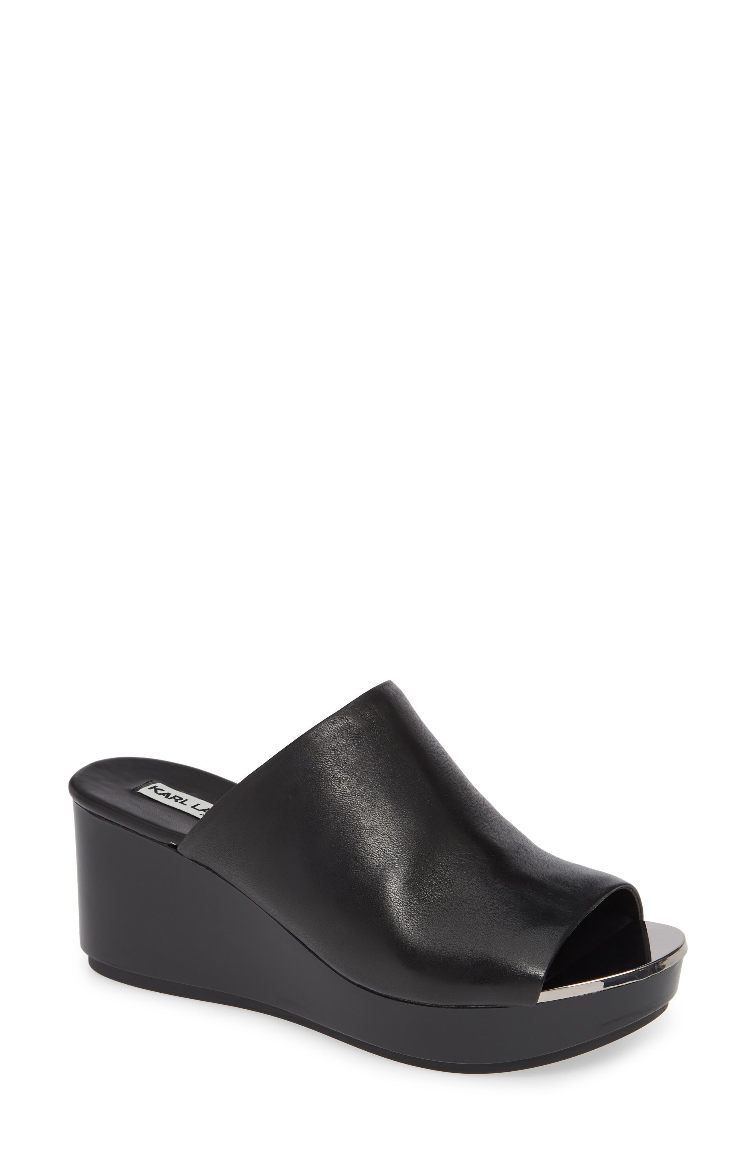 Karl Lagerfeld Paris Lyric Slide Sandal- Black