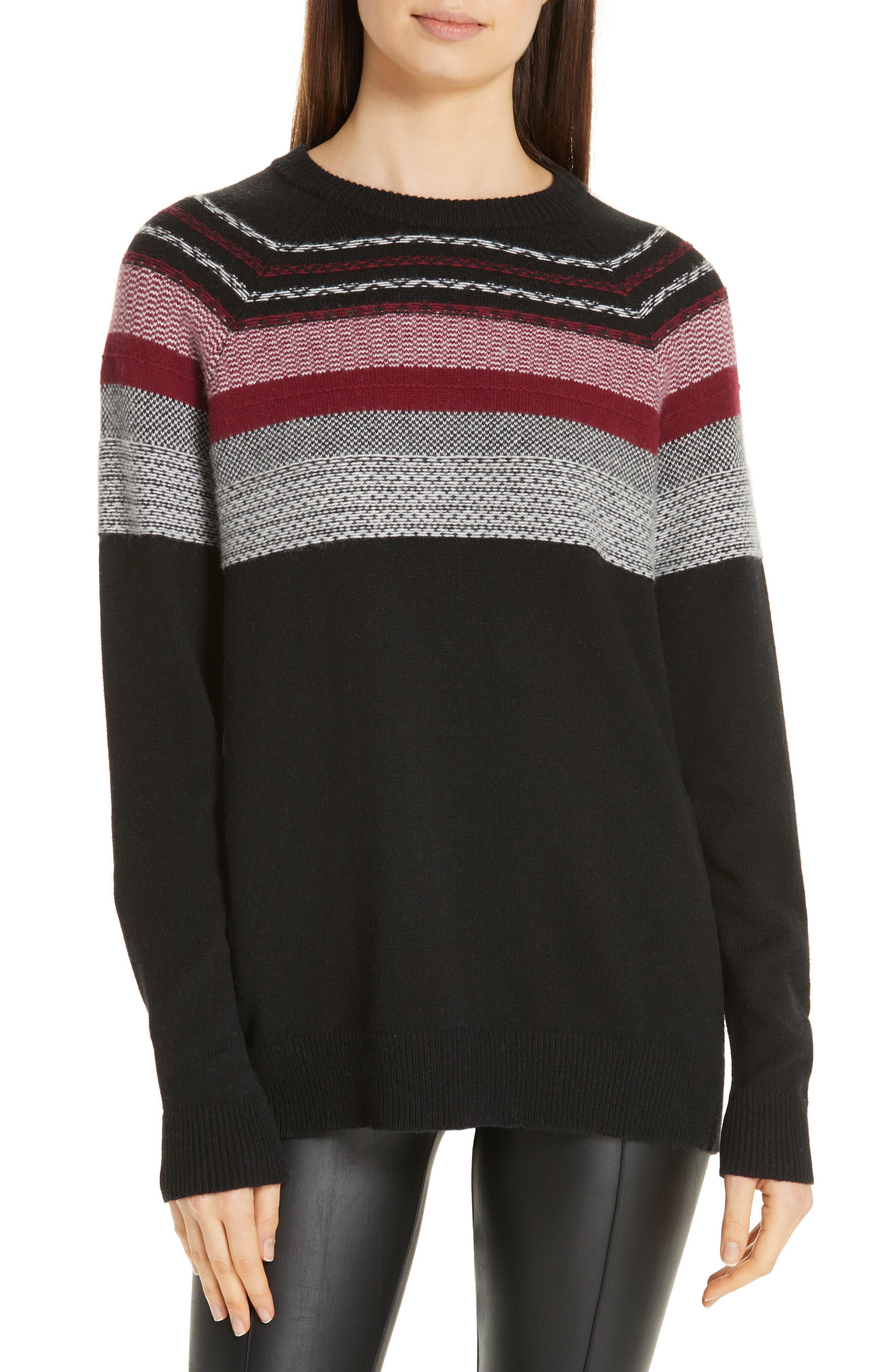 Fair Isle Merino Wool Blend Sweater,                             Main thumbnail 1, color,                             BLACK/ RED COMBO