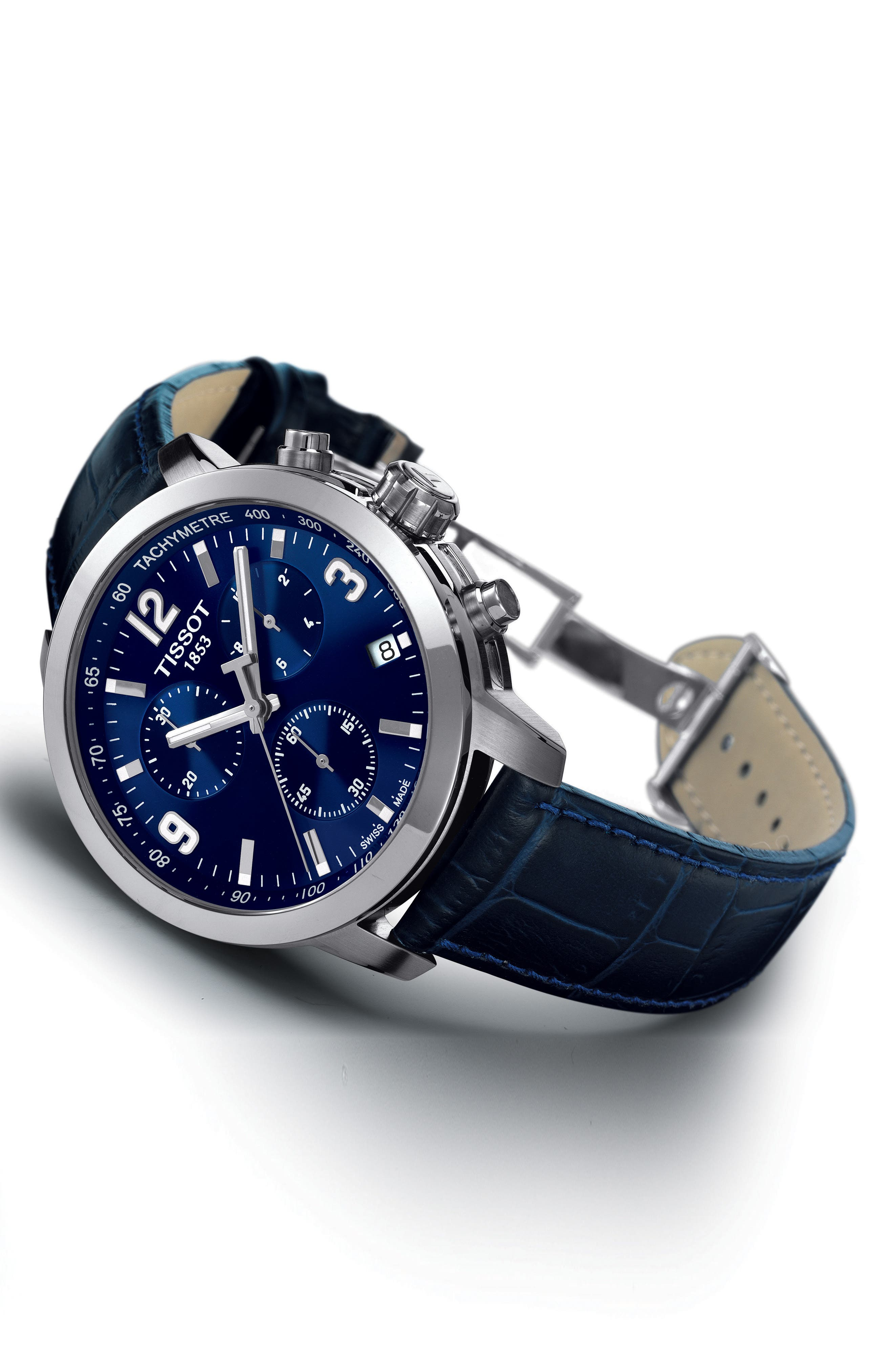 PRC200 Chronograph Leather Strap Watch, 41mm,                             Alternate thumbnail 2, color,                             BLUE/ SILVER