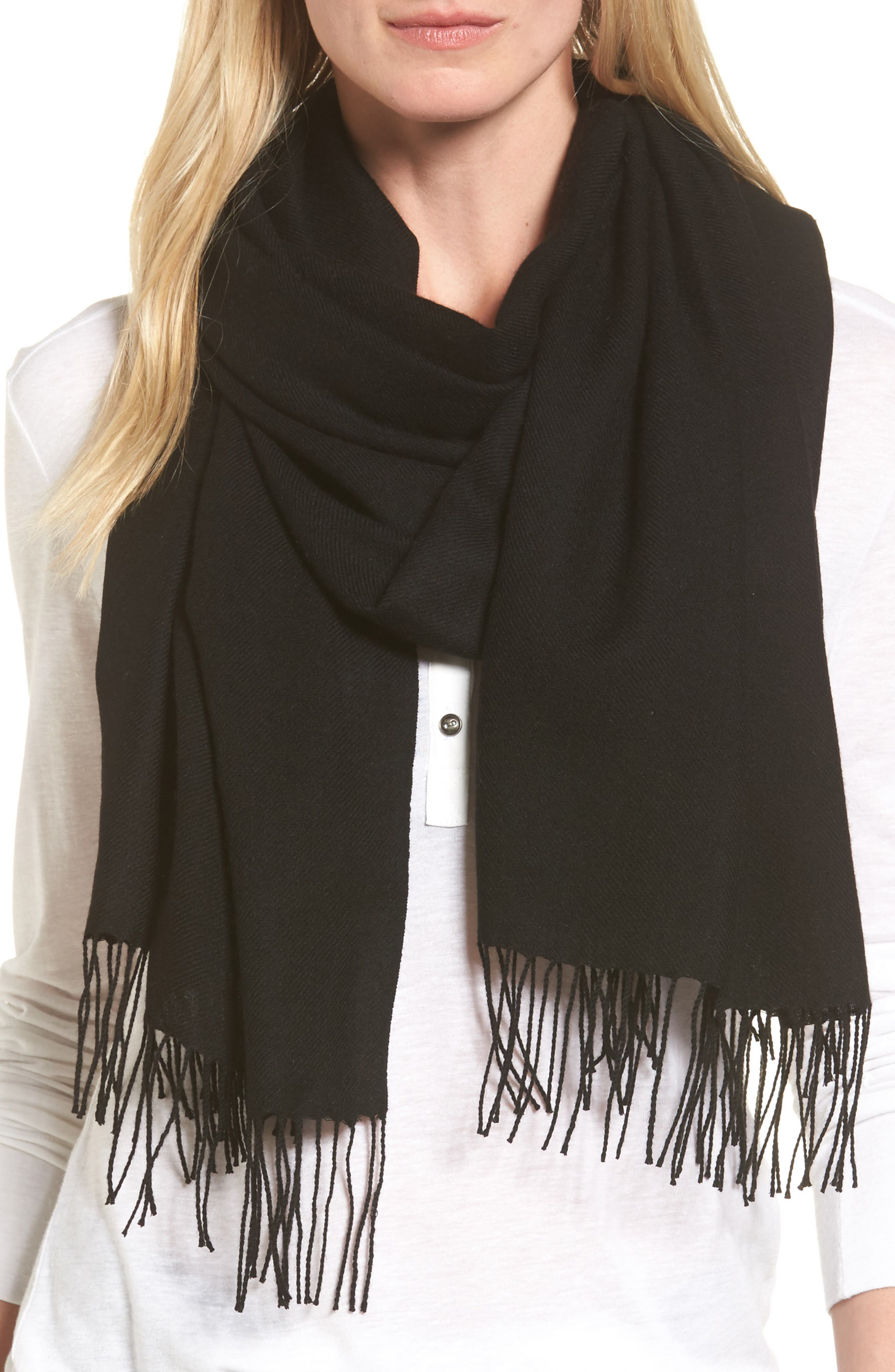 Tissue Weight Wool & Cashmere Scarf,                             Main thumbnail 1, color,                             BLACK