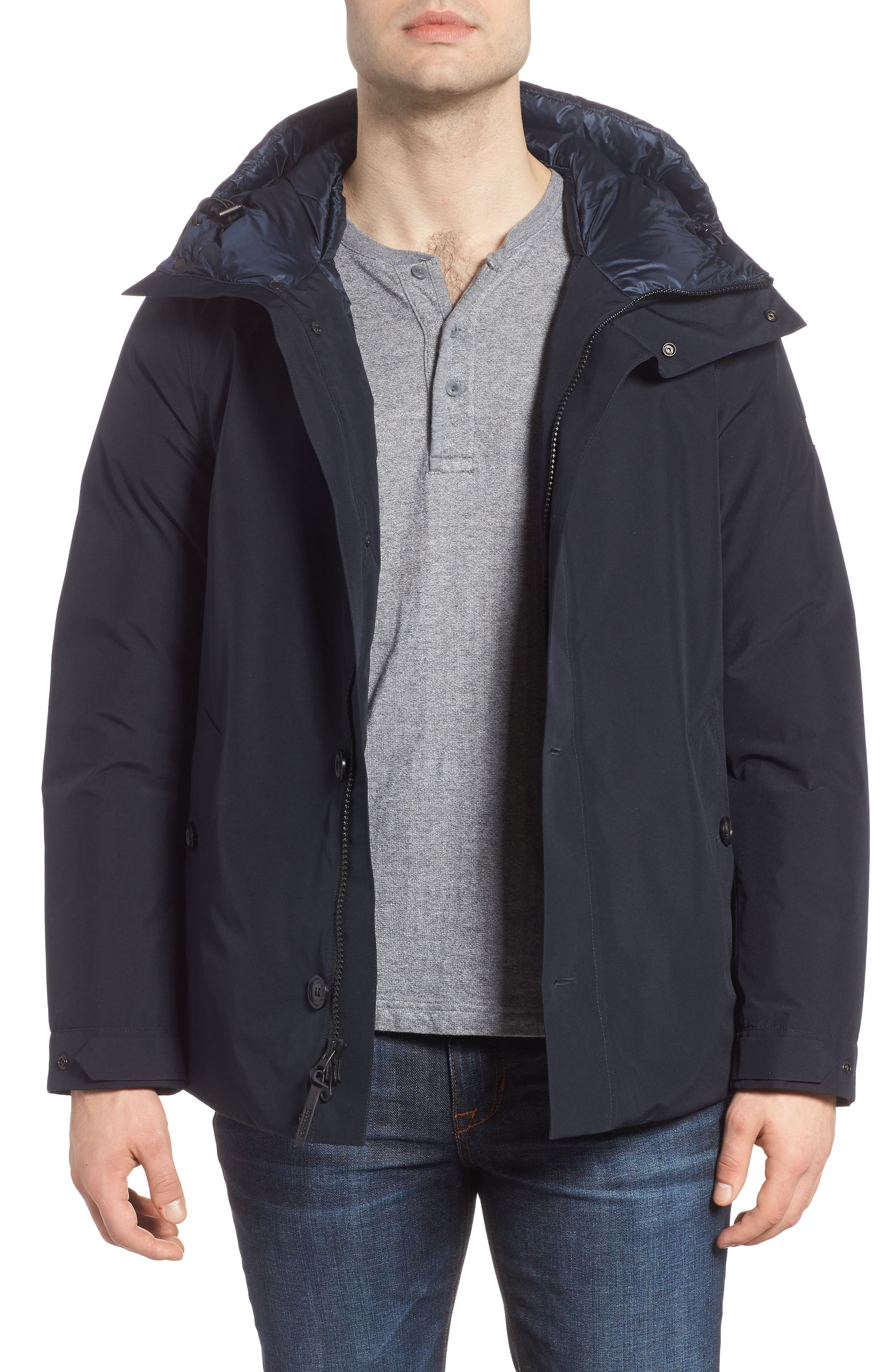 Waterproof Gore-Tex<sup>®</sup> Alpine Jacket,                         Main,                         color, NAVY MELTON