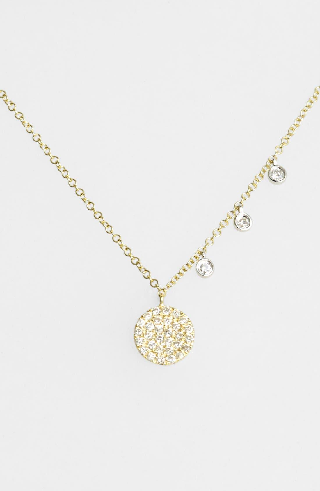 Dazzling Diamond Disc Pendant Necklace,                         Main,                         color, YELLOW GOLD