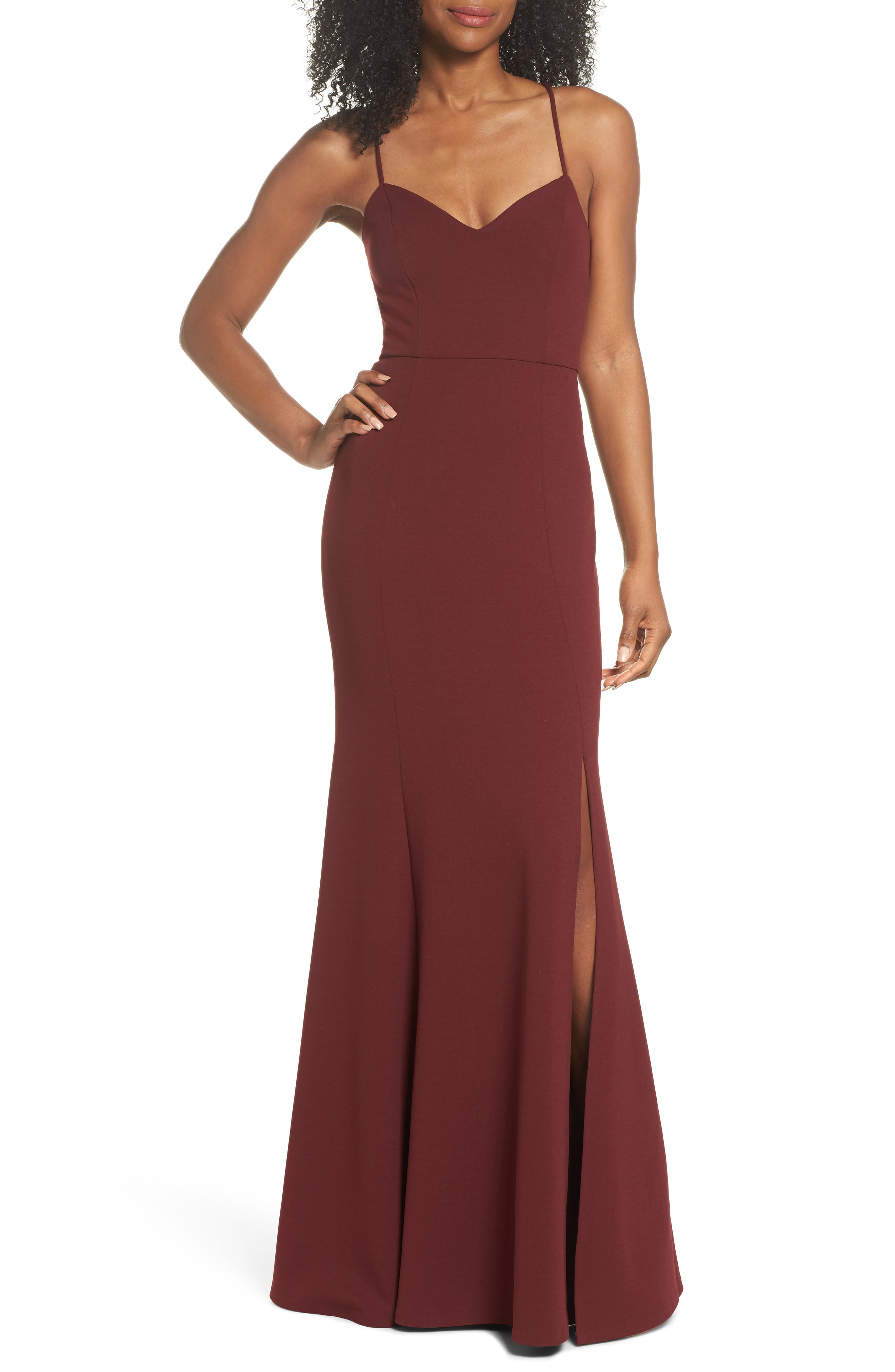 Jenny Yoo Reese Crepe Knit Gown, Burgundy