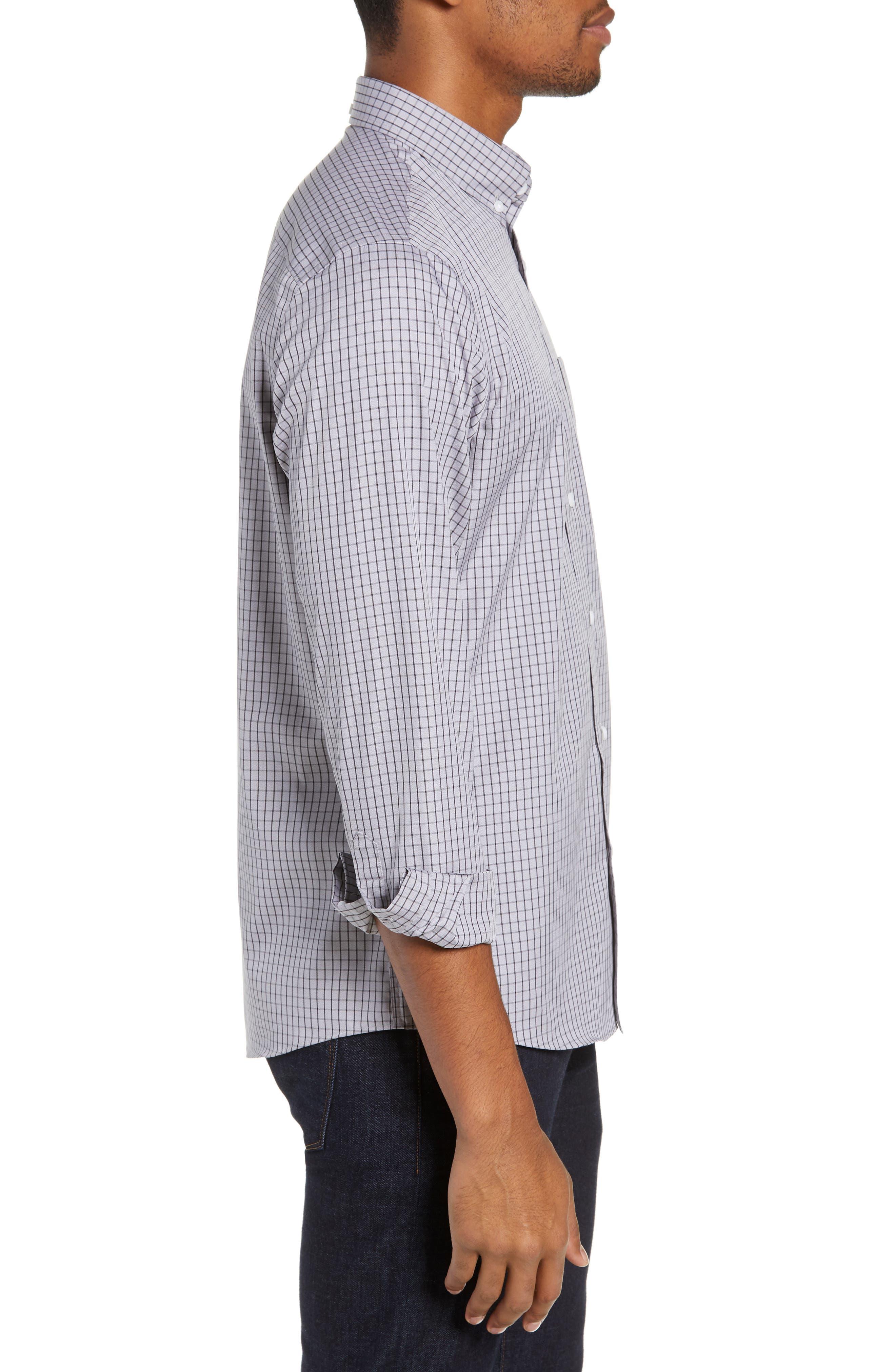 NORDSTROM MEN'S SHOP,                             Trim Fit Non-Iron Check Sport Shirt,                             Alternate thumbnail 4, color,                             GREY FILIGREE MINIGRID