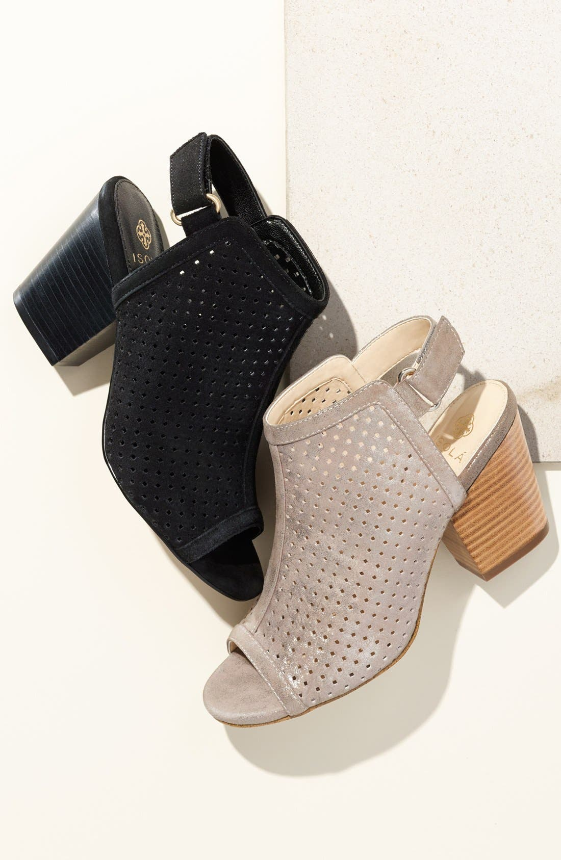 'Lora' Perforated Open-Toe Bootie Sandal,                             Alternate thumbnail 7, color,                             BARLEY LEATHER