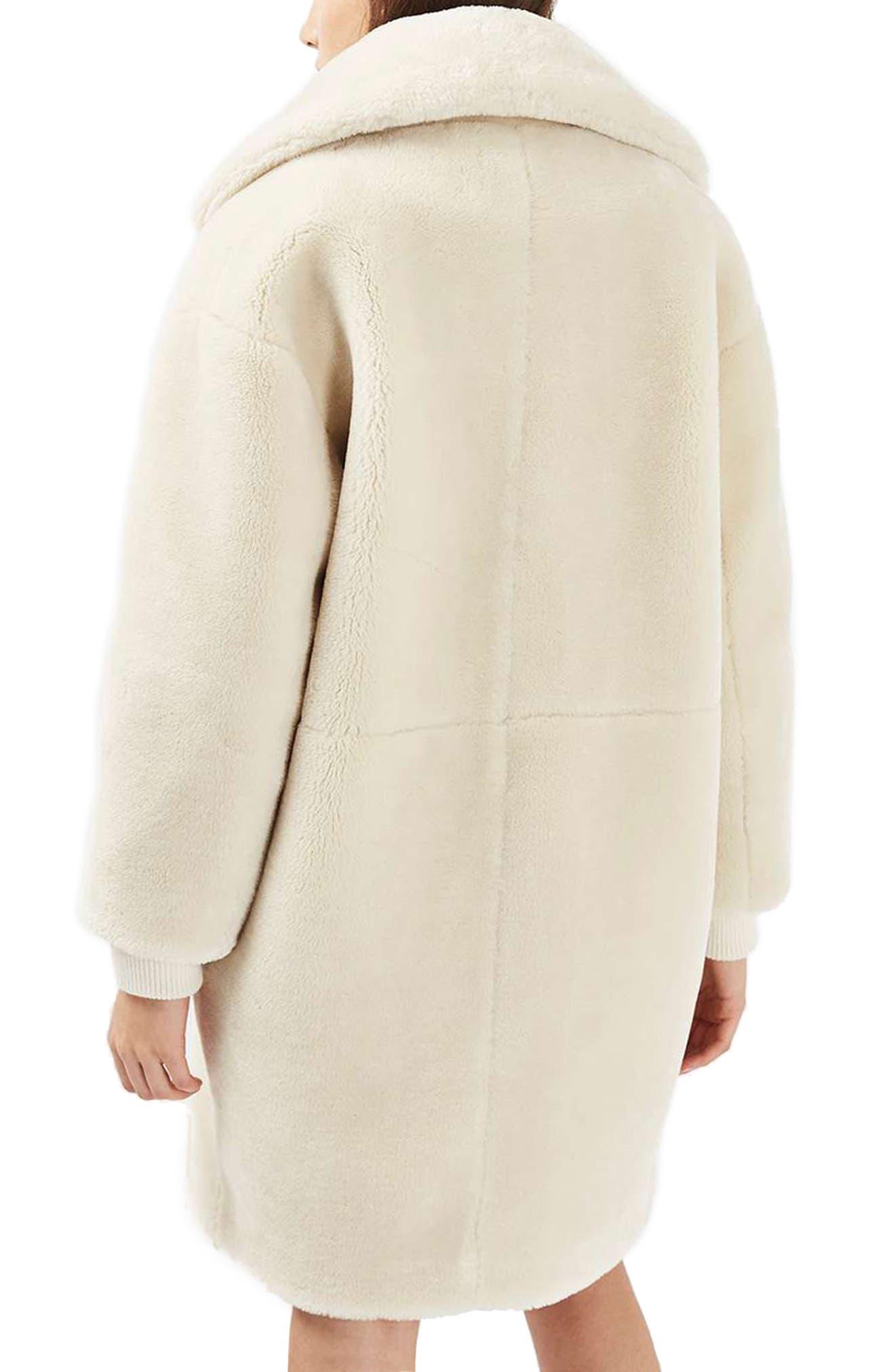 TOPSHOP,                             Polar Bear Faux Fur Coat,                             Alternate thumbnail 2, color,                             900