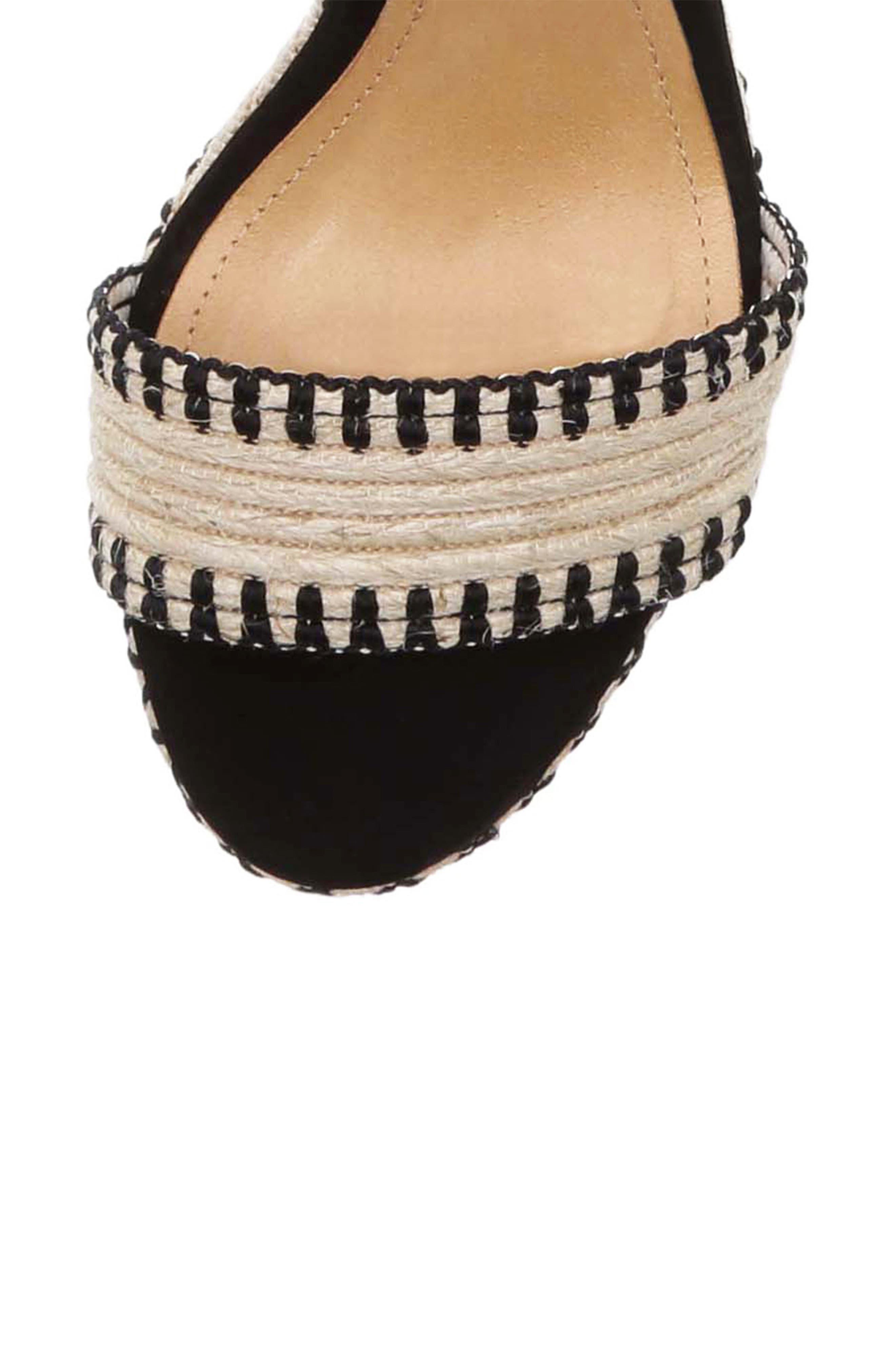 Electra Platform Wedge Sandal,                             Alternate thumbnail 5, color,                             NATURAL BLACK FABRIC