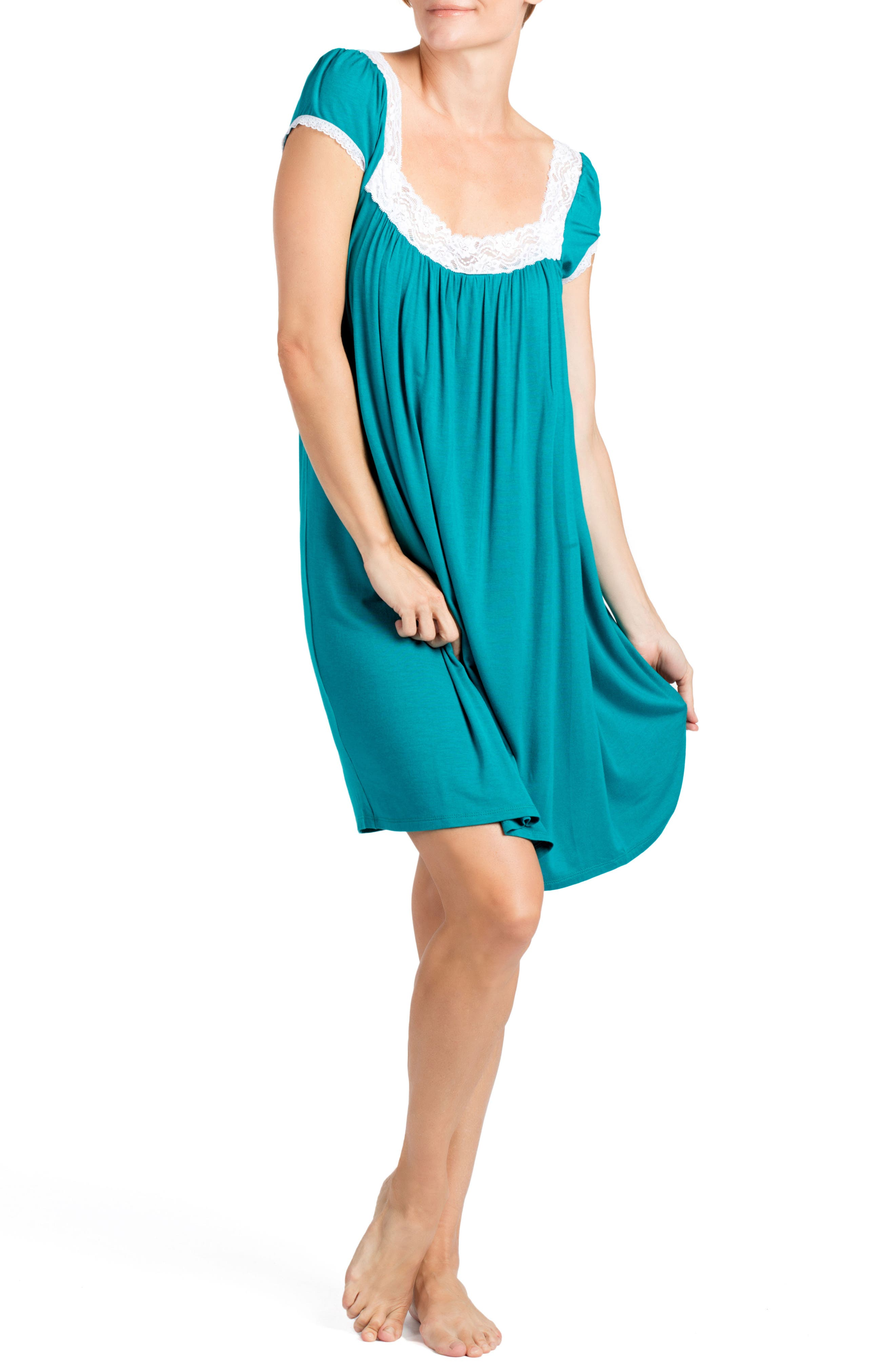SAVI MOM,                             Joliet Maternity/Nursing Nightgown,                             Alternate thumbnail 3, color,                             DARK JADE