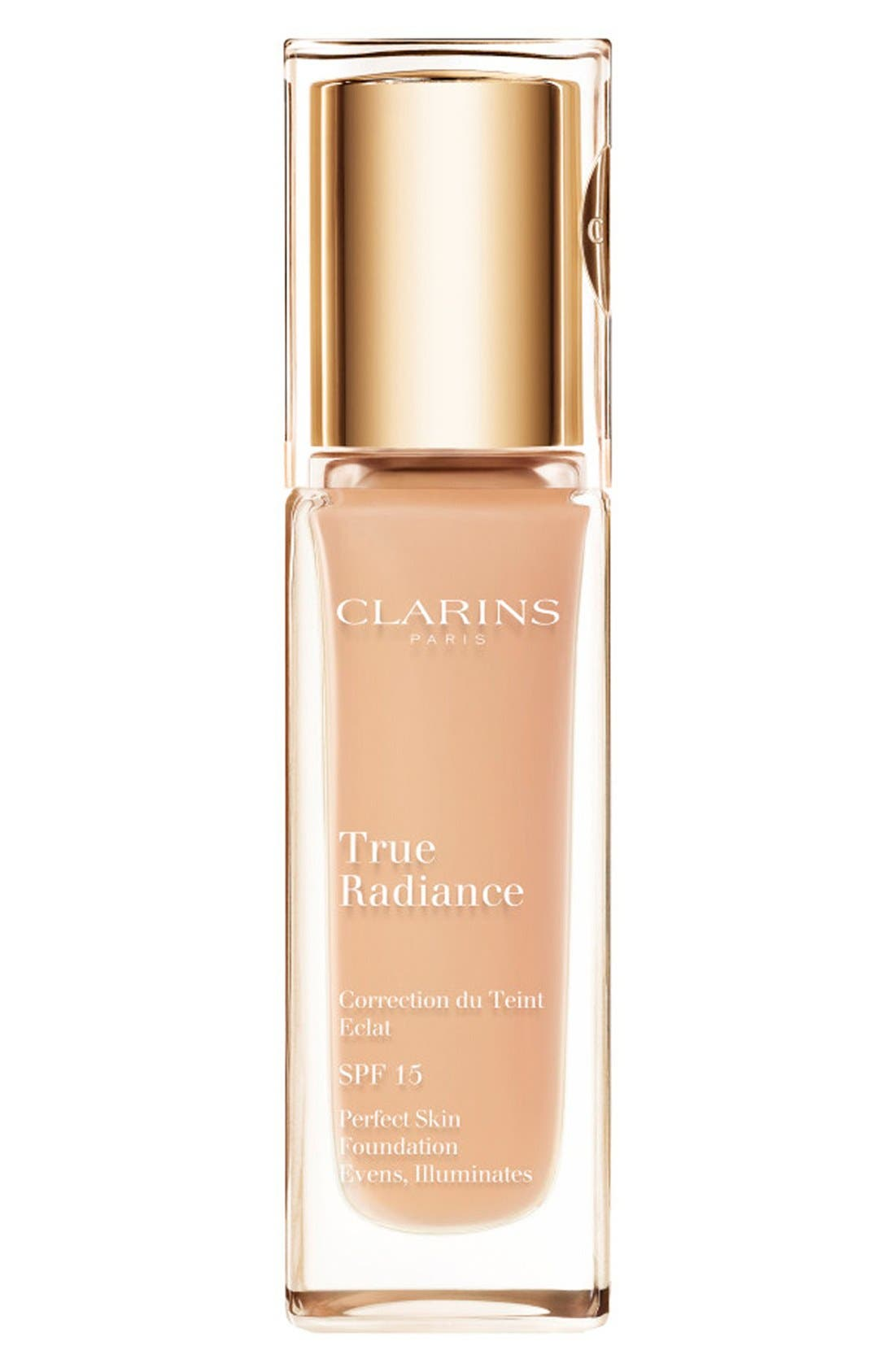 CLARINS,                             True Radiance SPF 15 Perfect Skin Foundation,                             Main thumbnail 1, color,                             250