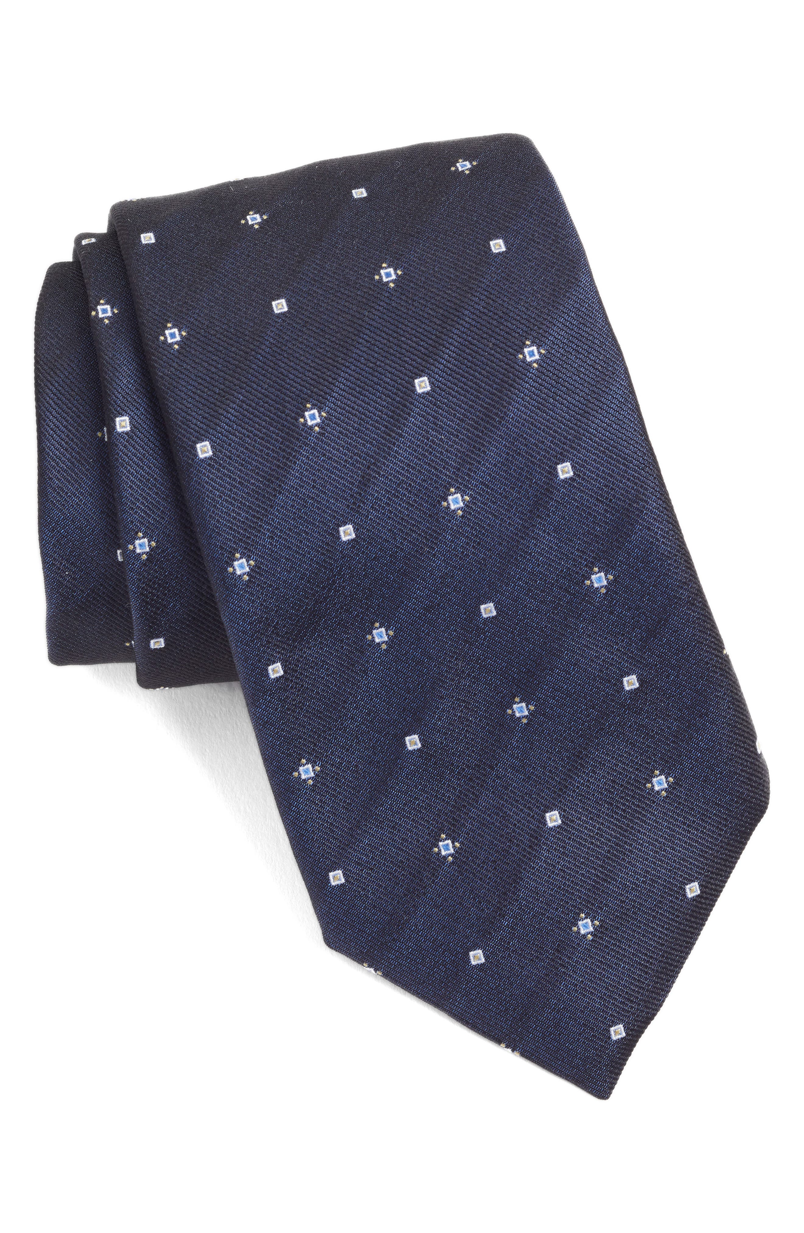 Geometric Silk Tie,                         Main,                         color, BLUE