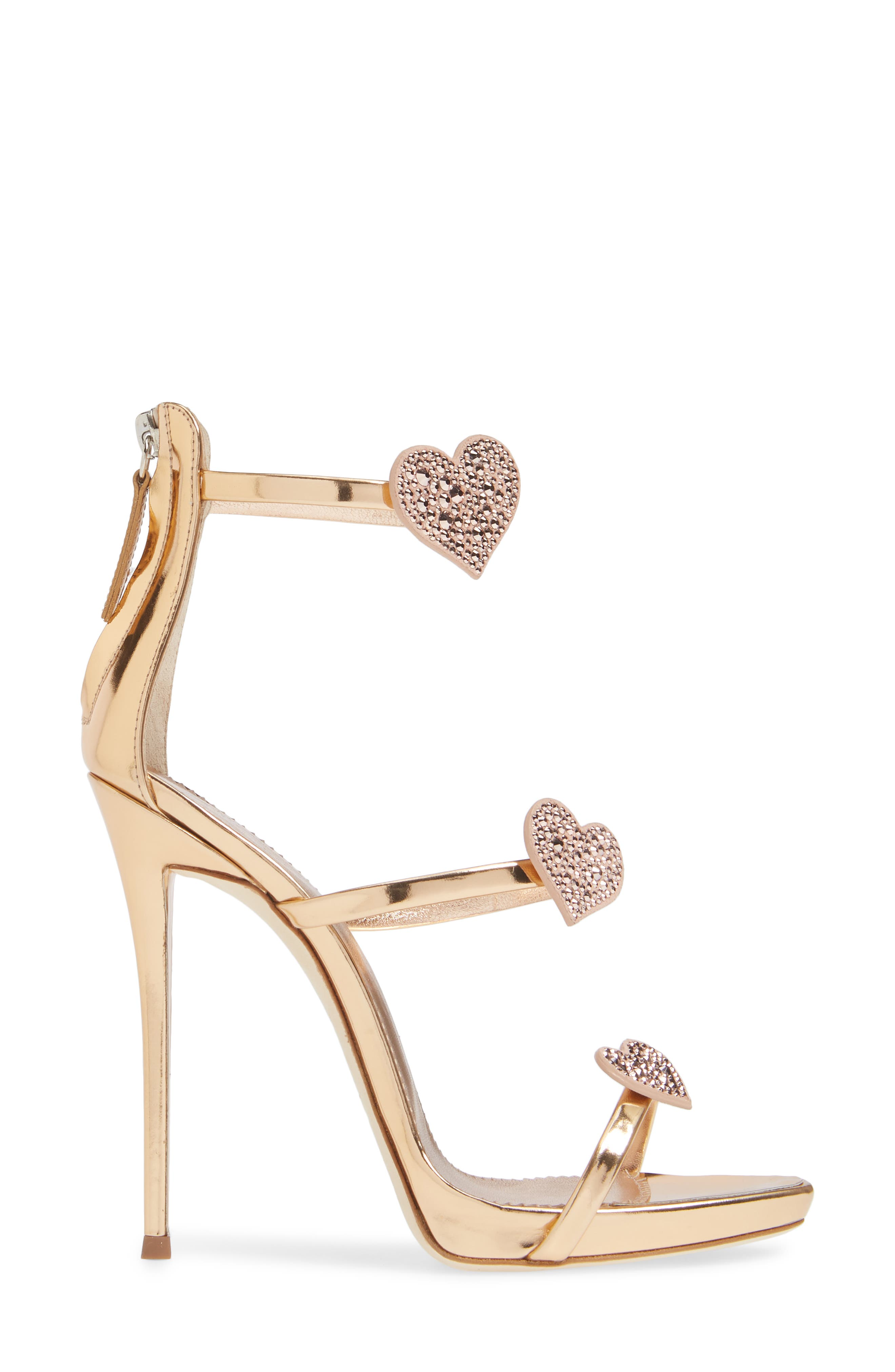 Triple Heart Strappy Sandal,                             Alternate thumbnail 3, color,                             ROSE GOLD