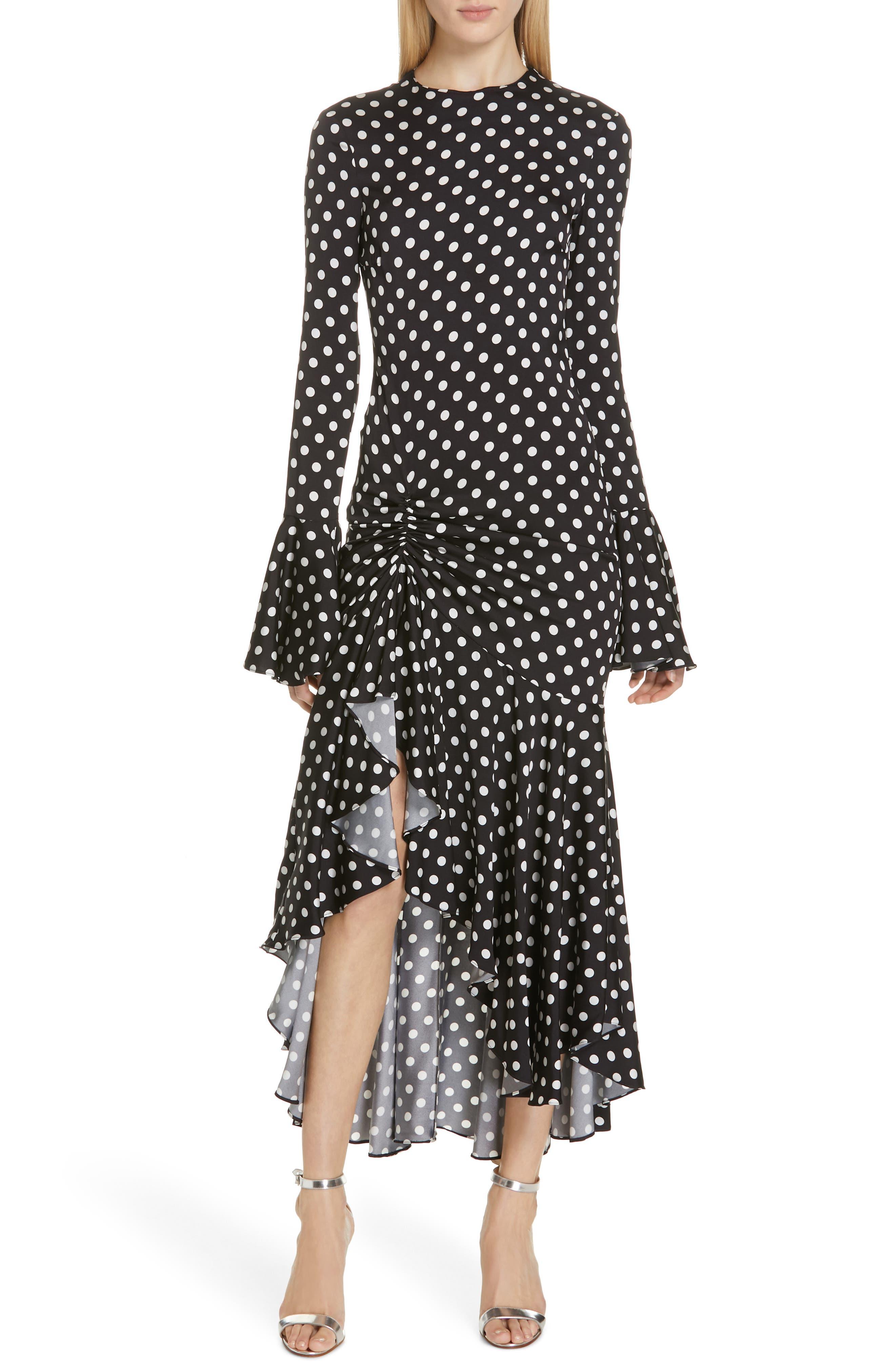 Caroline Constas Monique Polka Dot Midi Dress, Black
