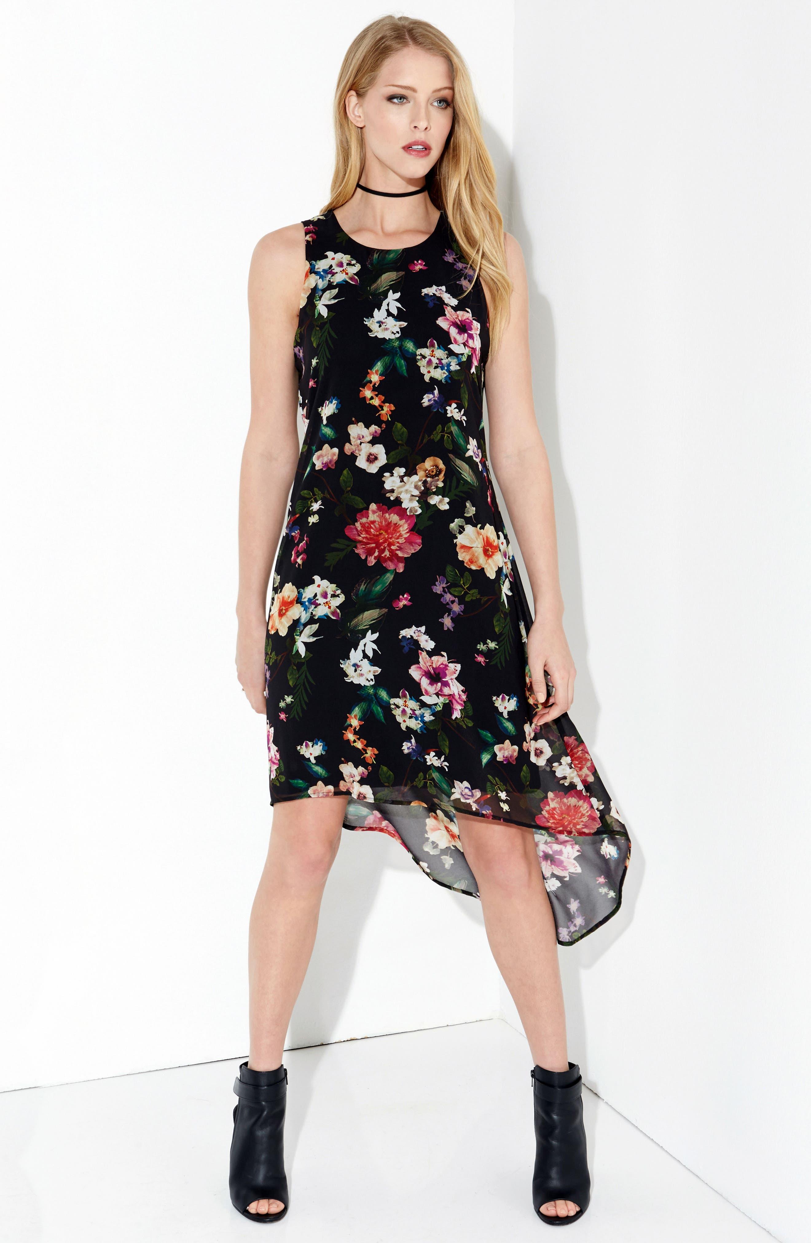 Floral High/Low A-Line Dress,                             Alternate thumbnail 4, color,                             560