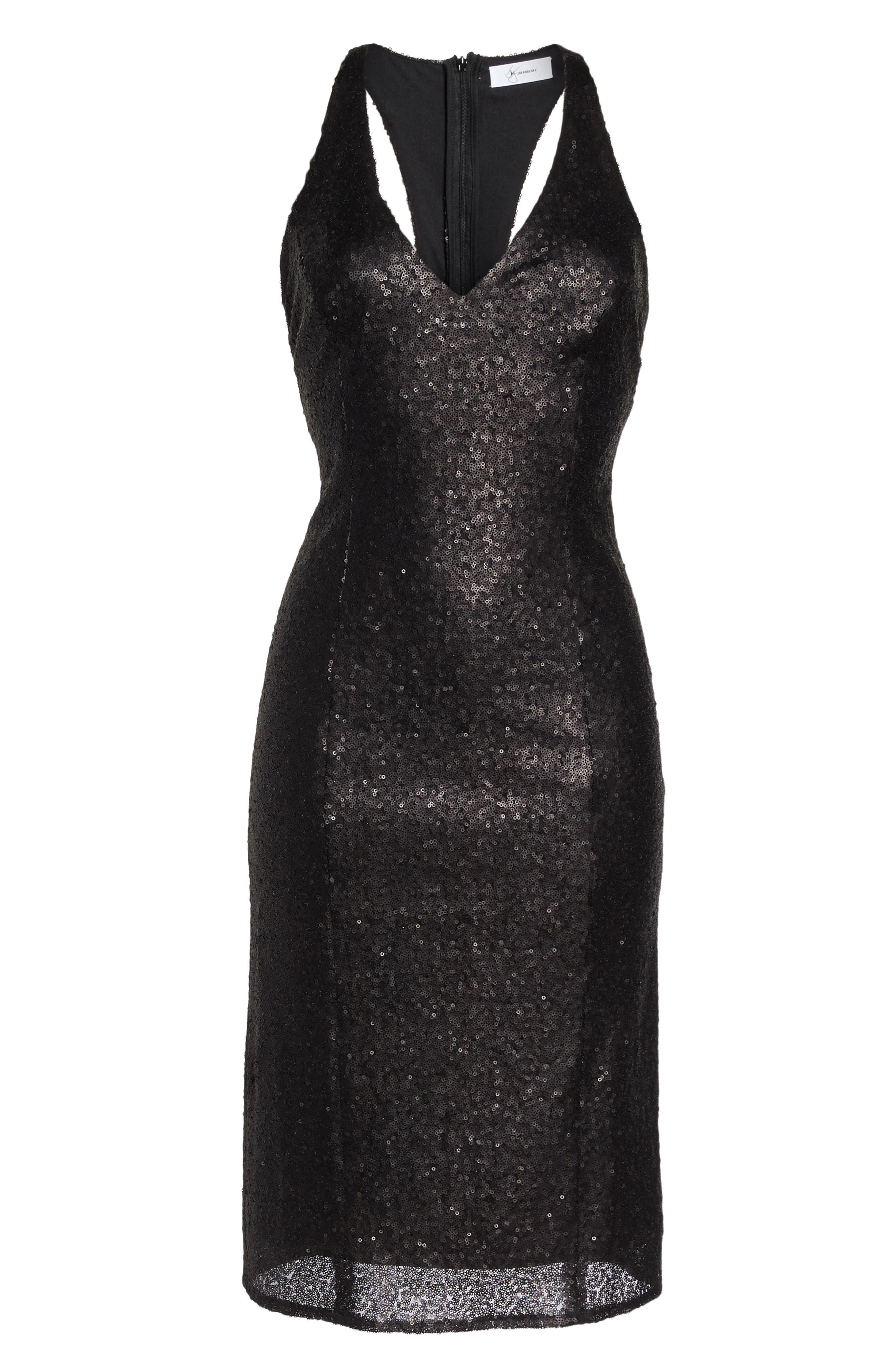 Alo Sequin Halter Dress,                             Alternate thumbnail 6, color,                             001