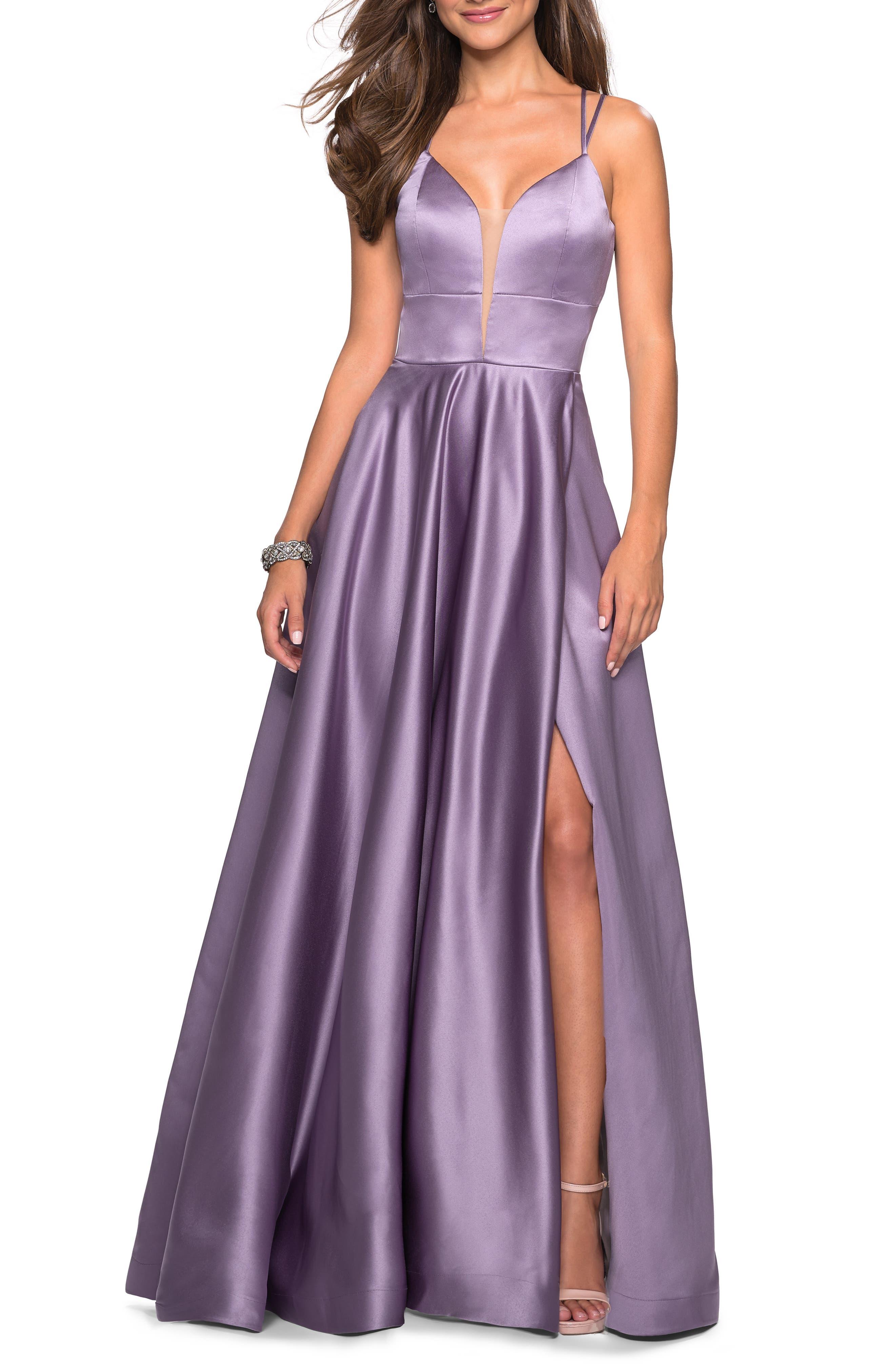 La Femme Strappy Back Satin Evening Dress, Purple