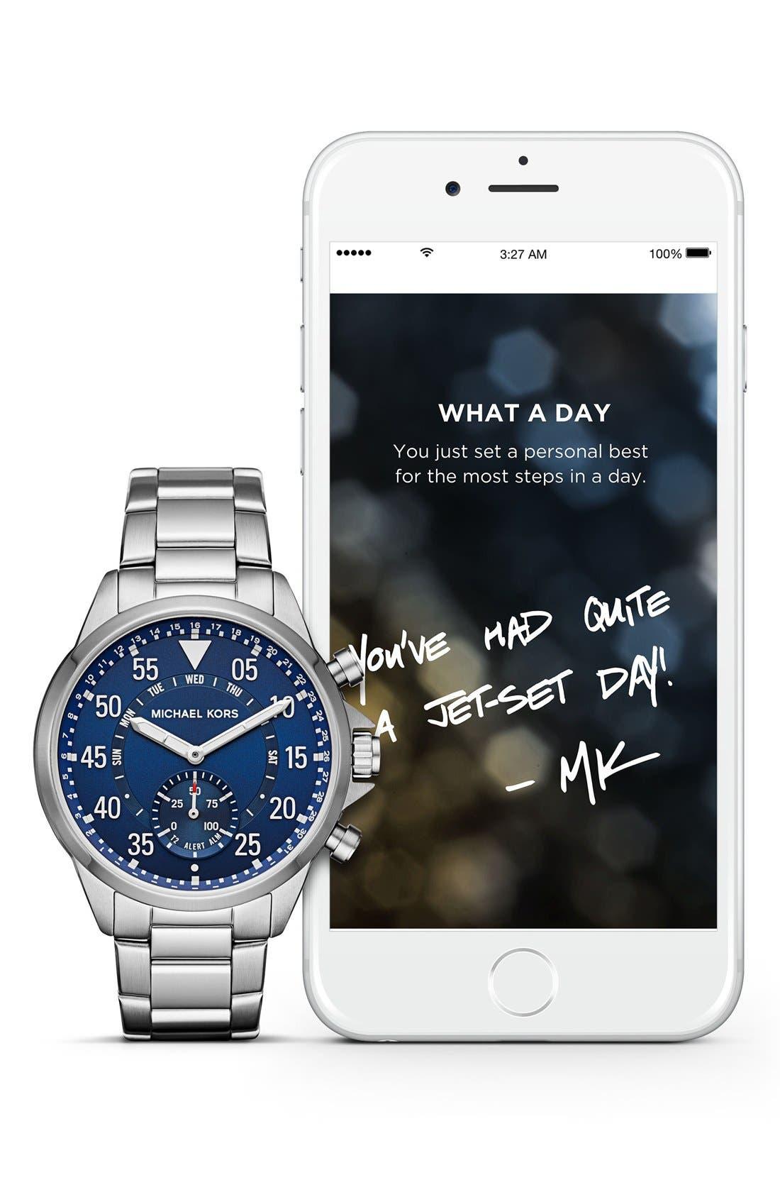 Michael Kors Gage Bracelet Smart Watch, 45mm,                             Alternate thumbnail 5, color,                             SILVER/ BLUE