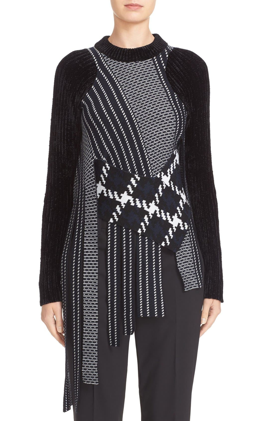 Draped Jacquard & Chenille Sweater,                         Main,                         color, 001