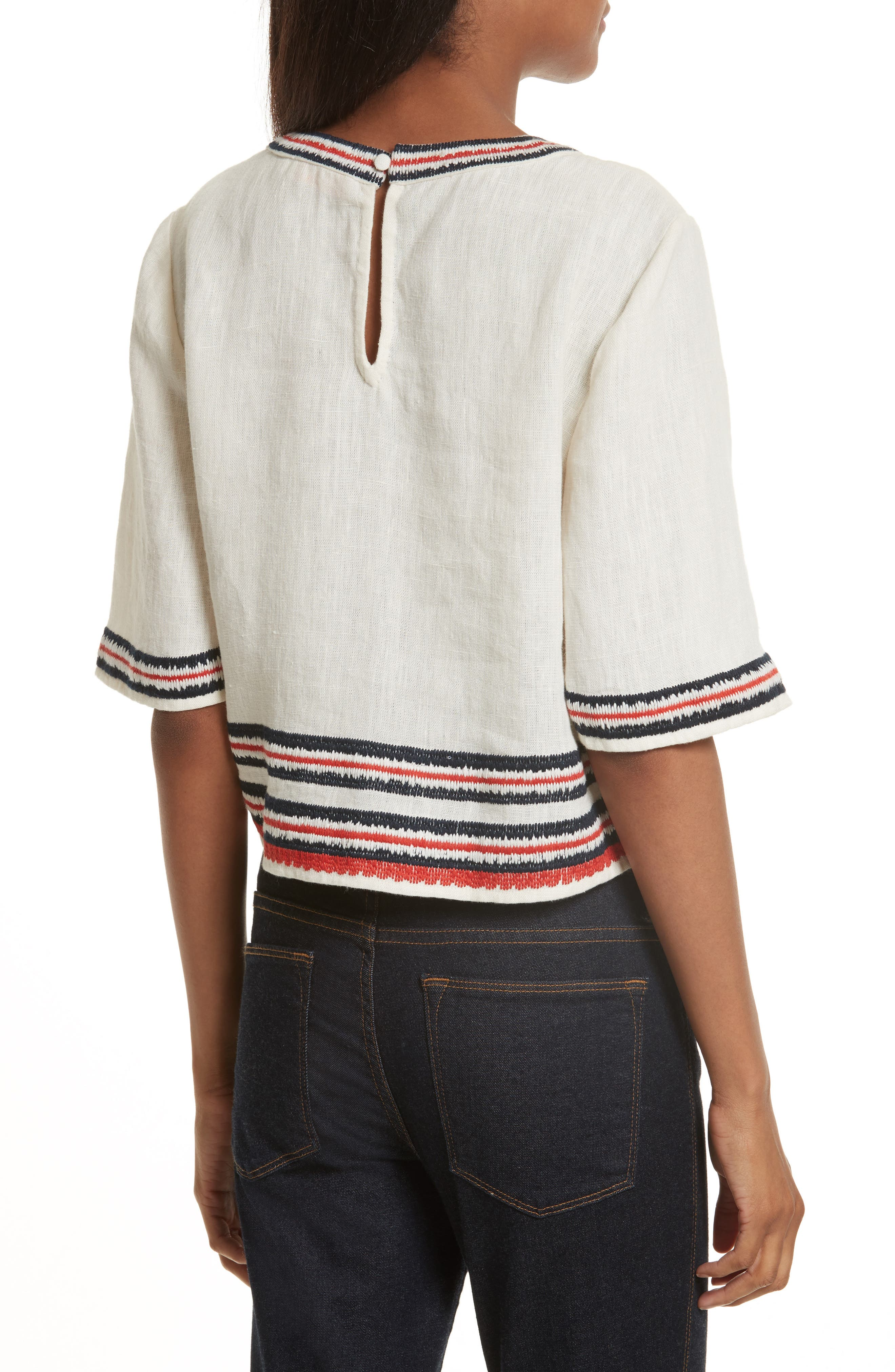 Florentina Embroidered Linen Top,                             Alternate thumbnail 2, color,                             104