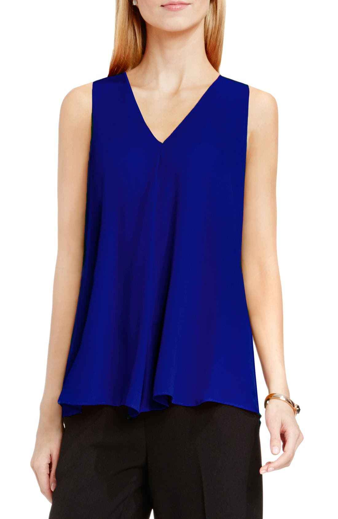 Drape Front V-Neck Sleeveless Blouse,                             Main thumbnail 16, color,