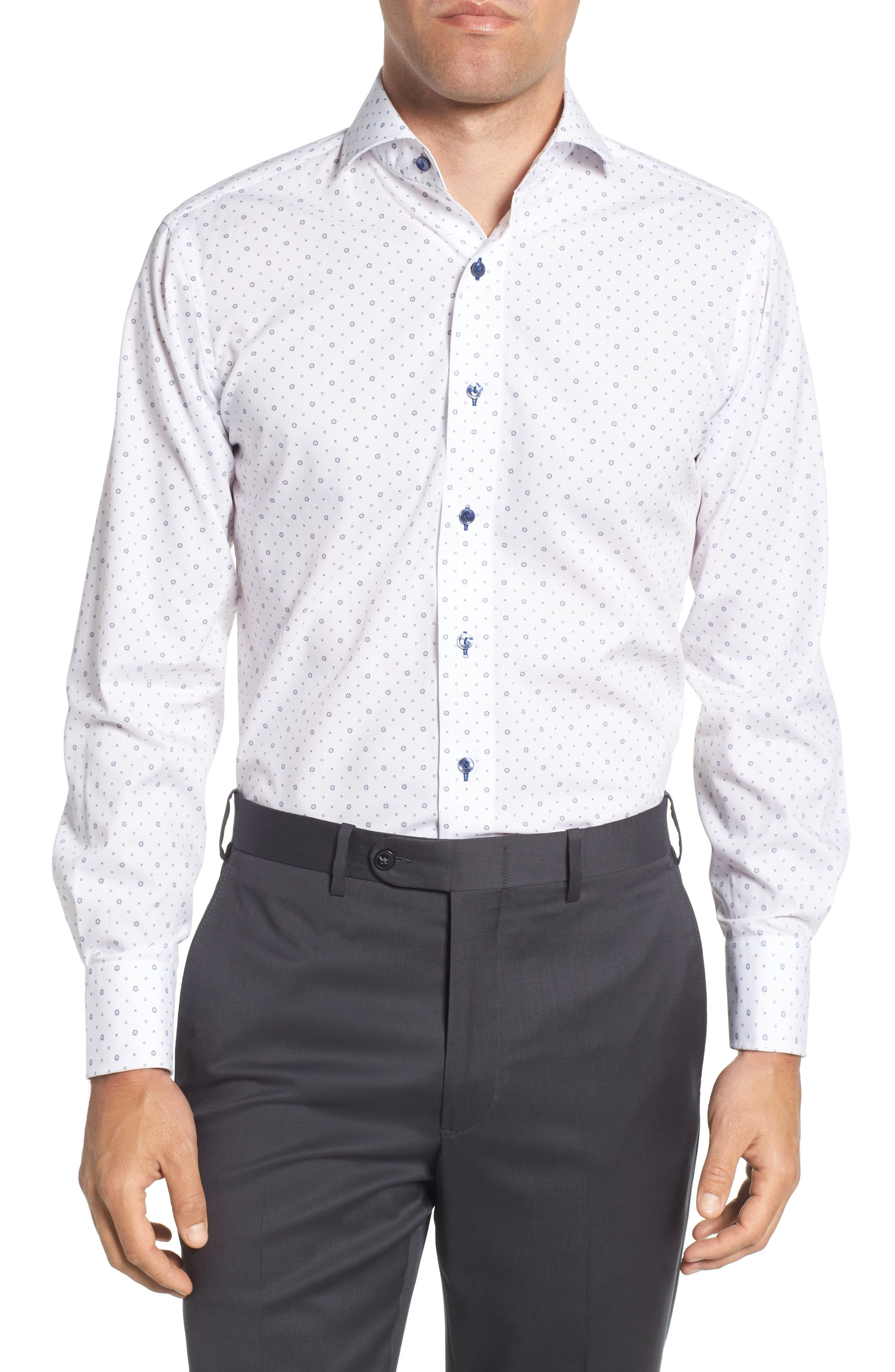 Trim Fit Floral Dress Shirt,                         Main,                         color, 100
