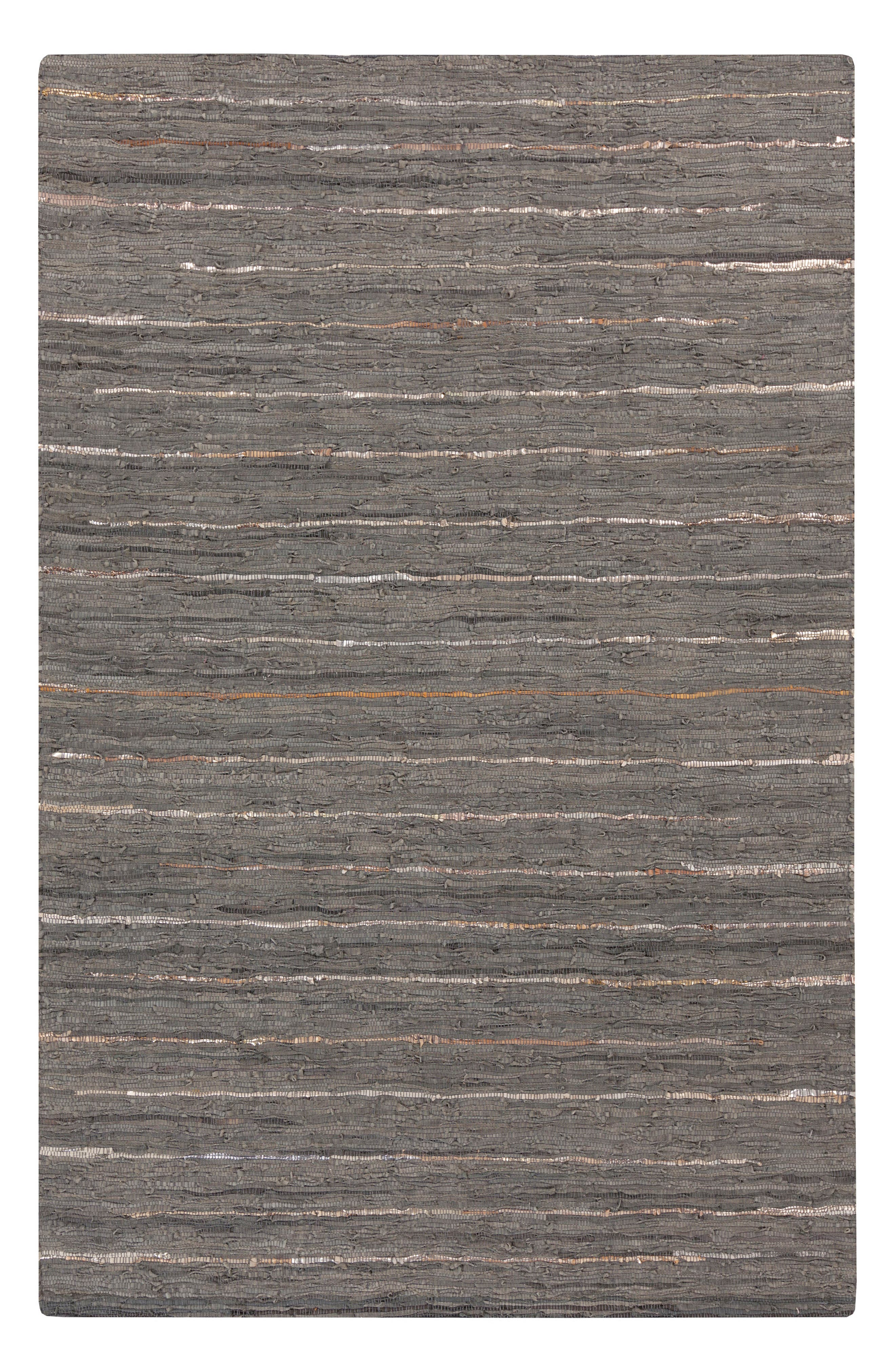 Anthracite Leather Rug,                         Main,                         color, 001