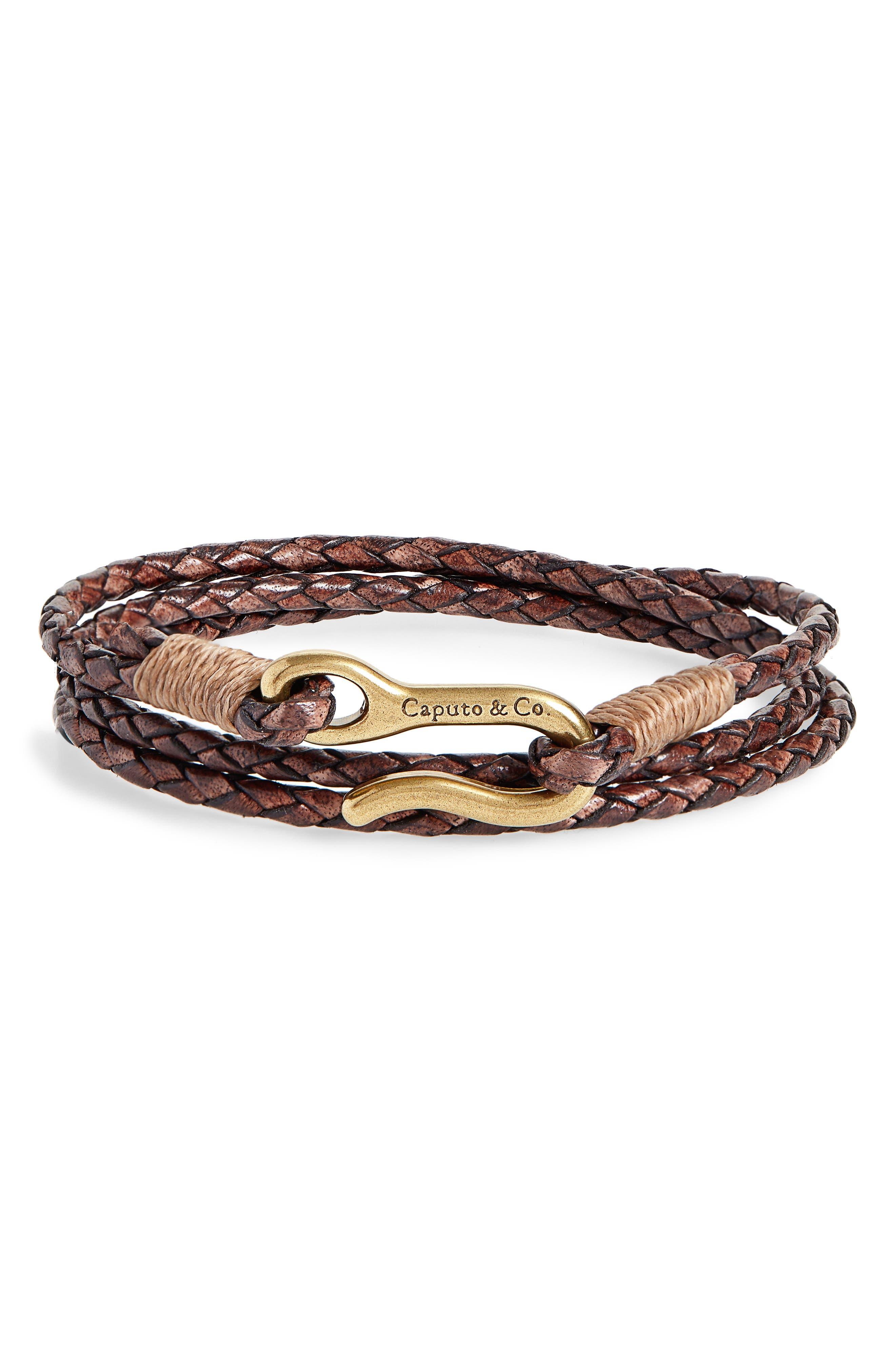 CAPUTO & CO. Braided Leather Wrap Bracelet in Antique Dark Brown