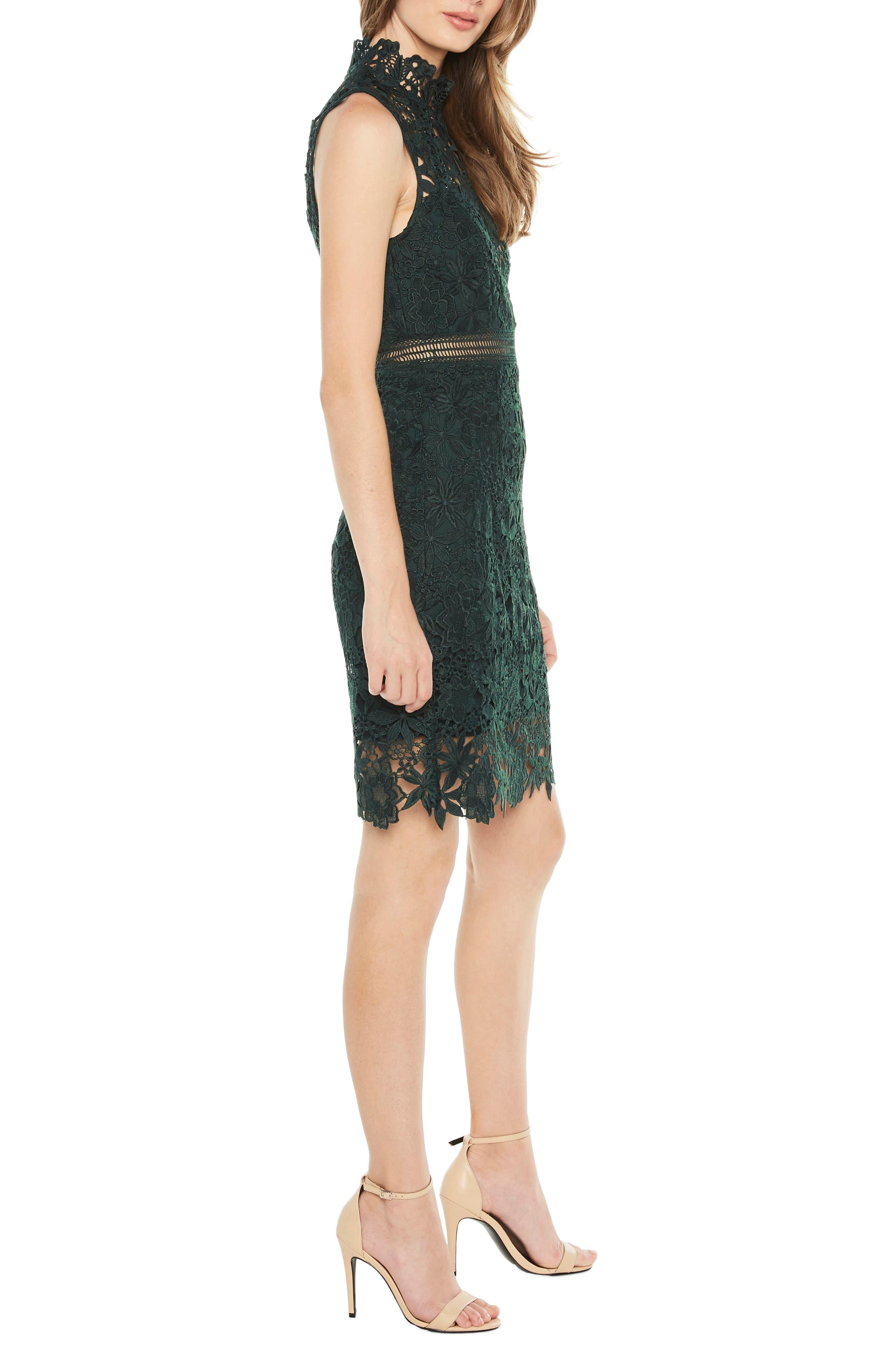 Paris Lace Body-Con Dress,                             Alternate thumbnail 3, color,                             FOREST GREEN
